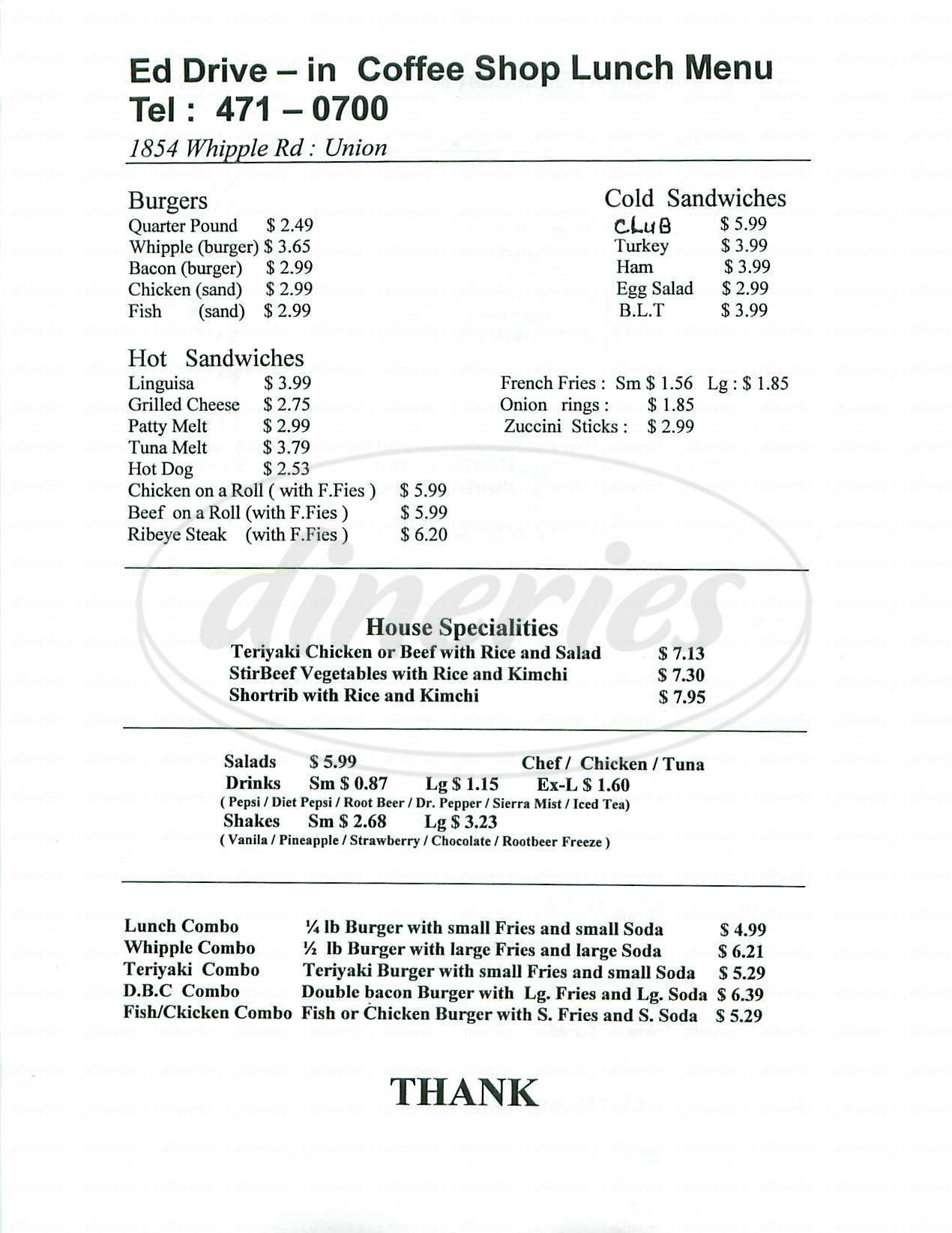 menu for Ed Drive-In Coffee Shop