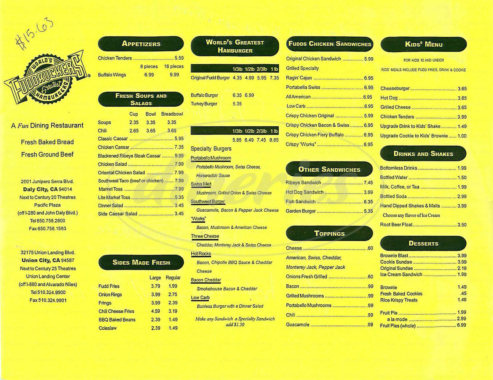 menu for Fuddrucker's