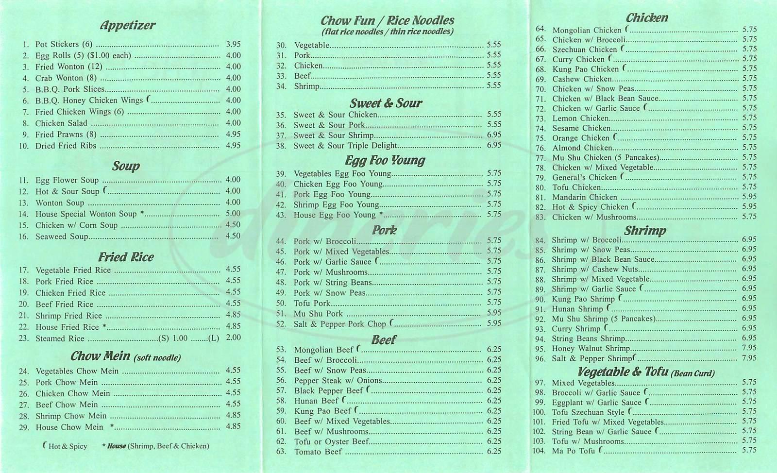 menu for Little Panda