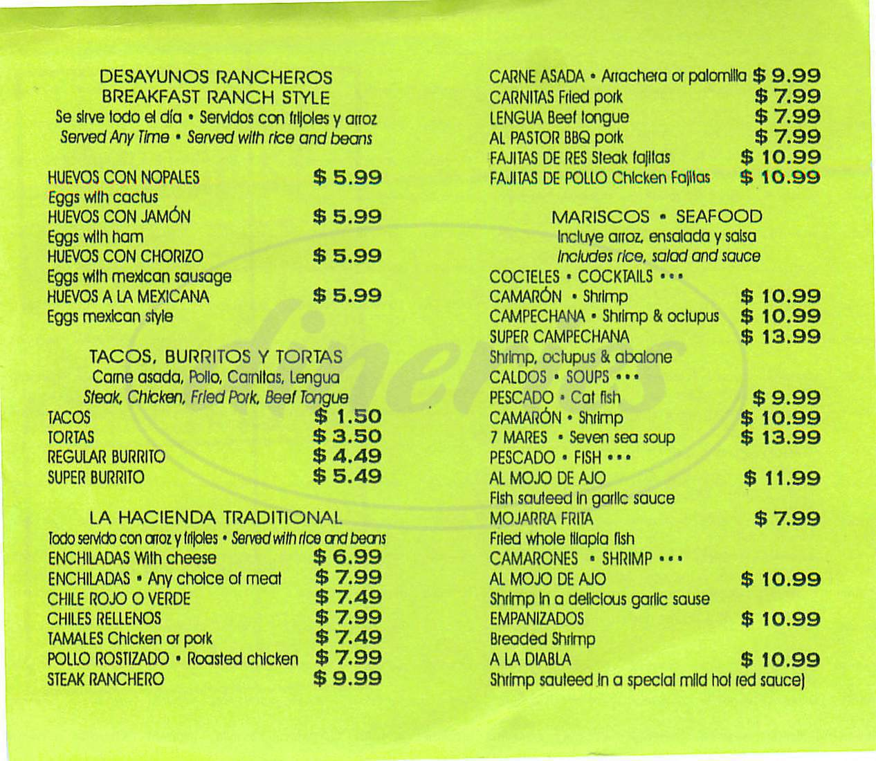menu for La Hacienda