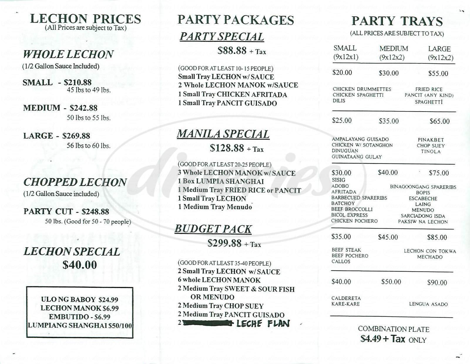 menu for Lechon Manila