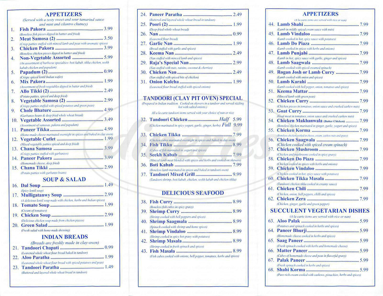 menu for Raja Sweets & Indian Cuisine