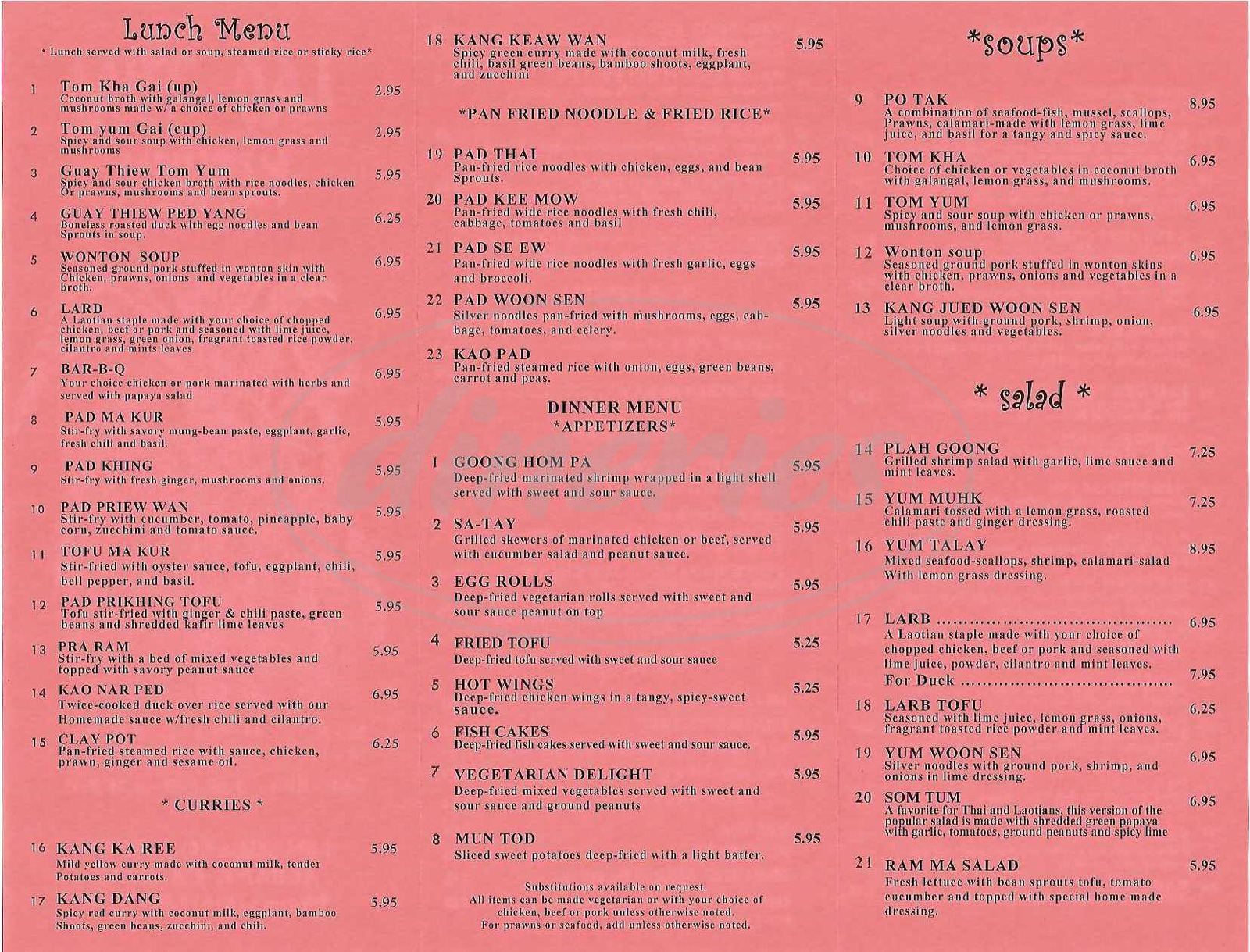 Lao-Thai Kitchen Menu - Albany - Dineries
