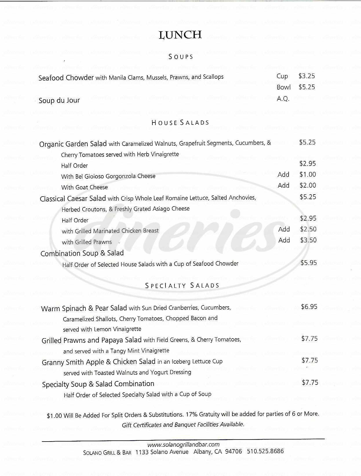 menu for Solano Grill & Bar