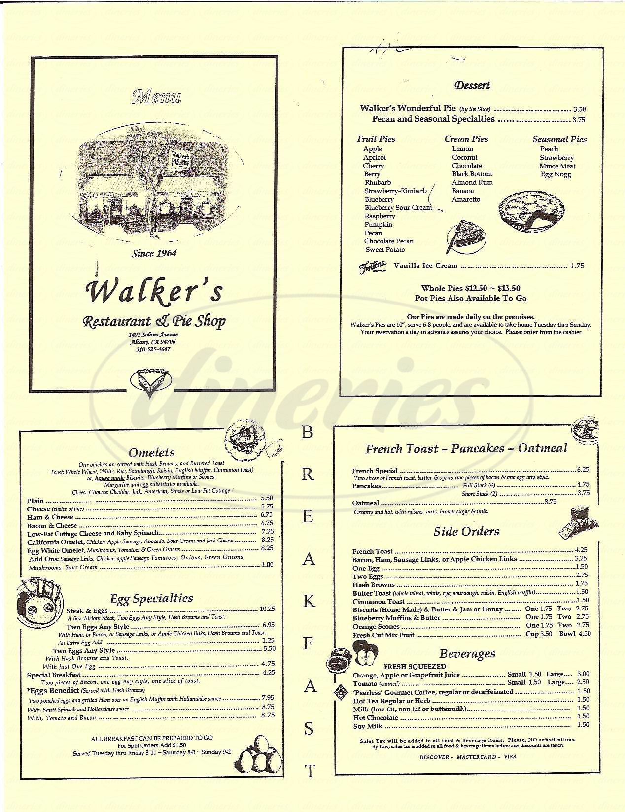 menu for Walker's Rest & Pie Shop