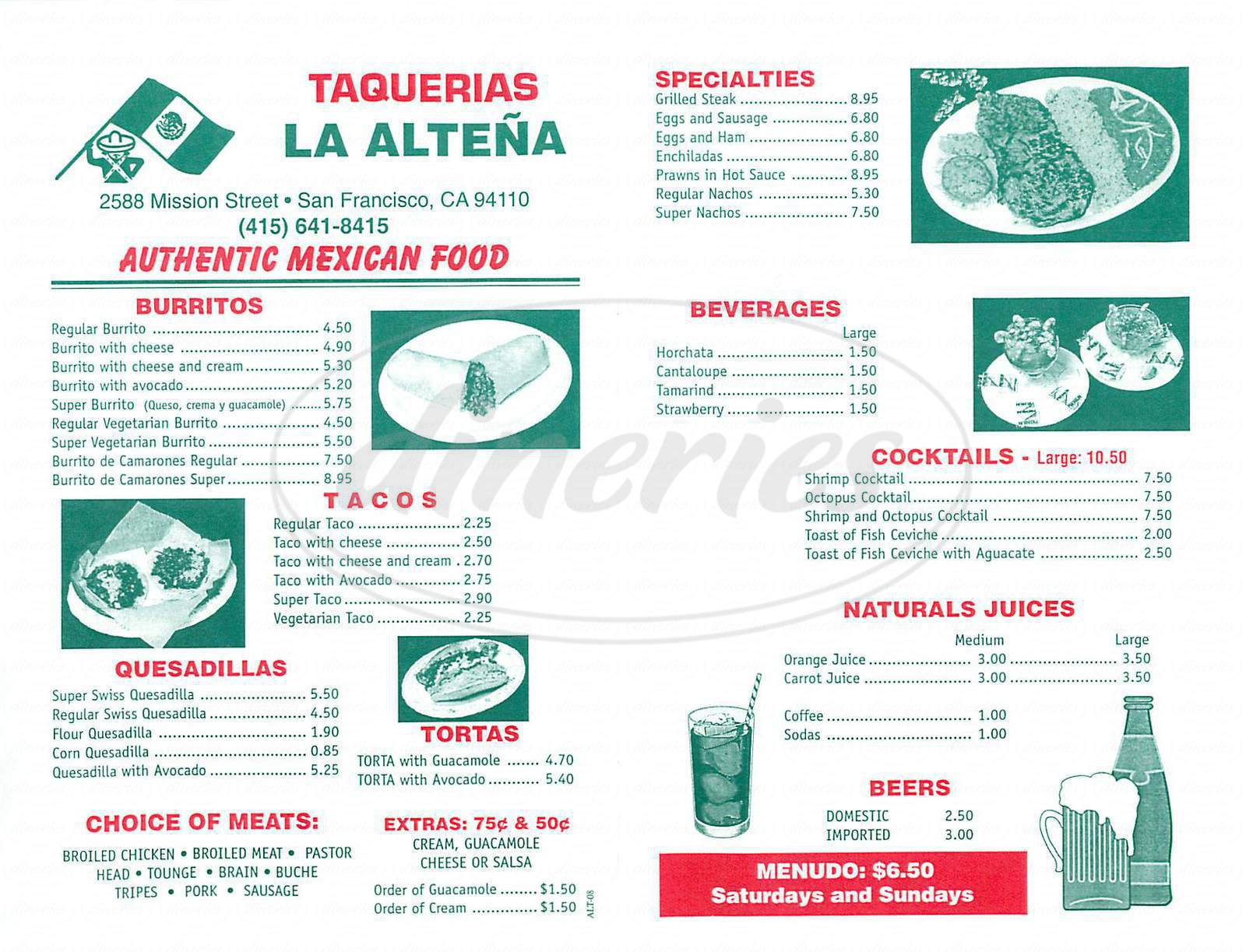 menu for La Altena Taqueria
