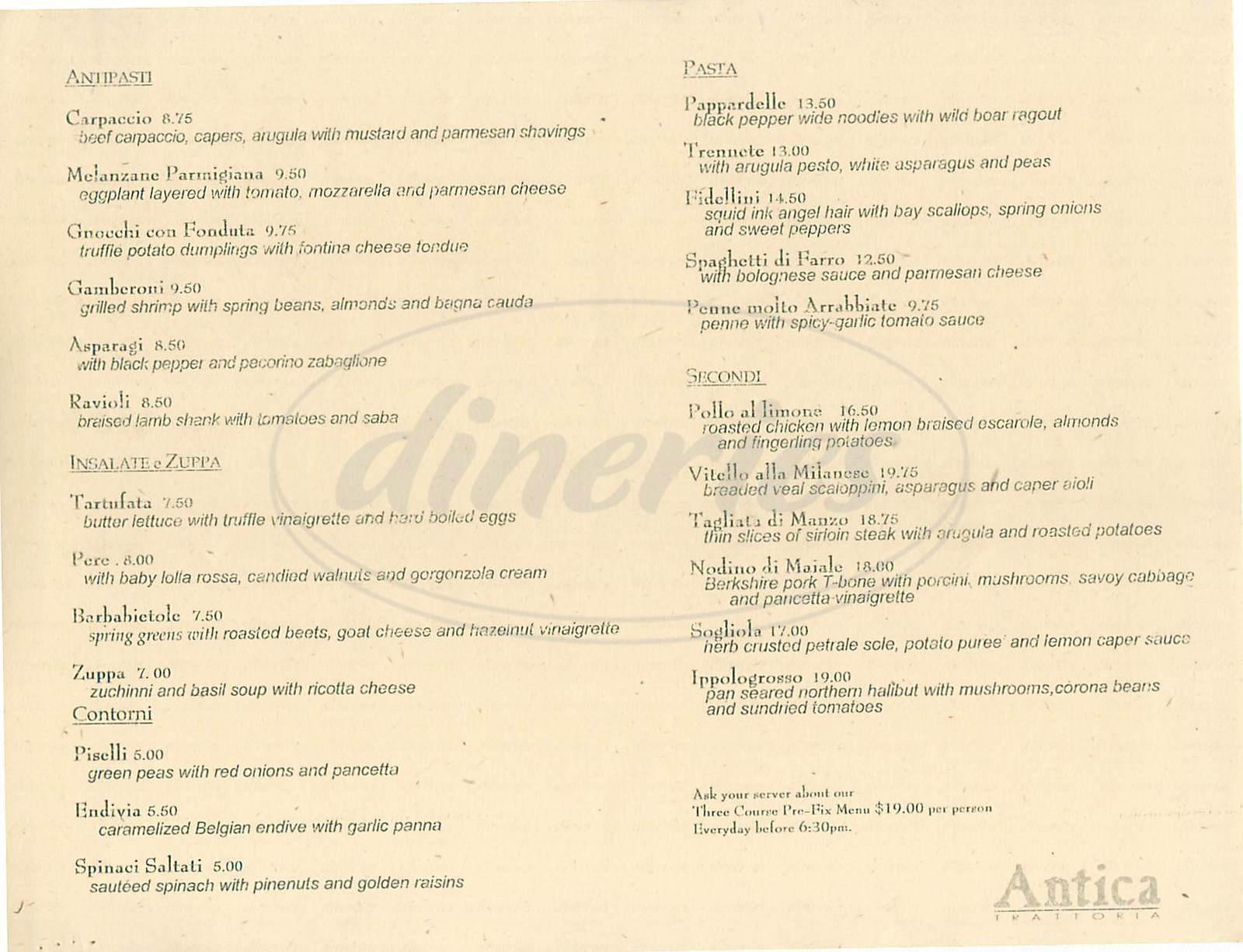 menu for Antica Trattoria