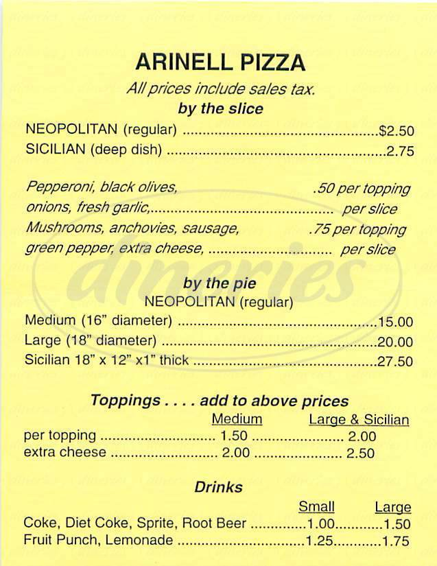 menu for Arinell Pizza