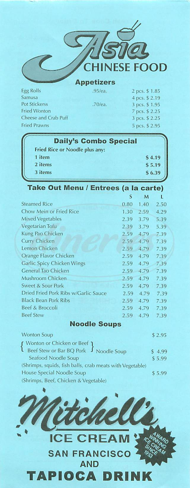 menu for Asia Chinese Food