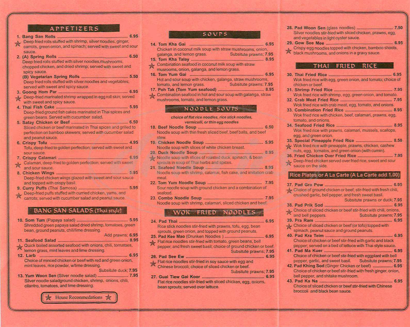 menu for Bang San Thai Cuisine