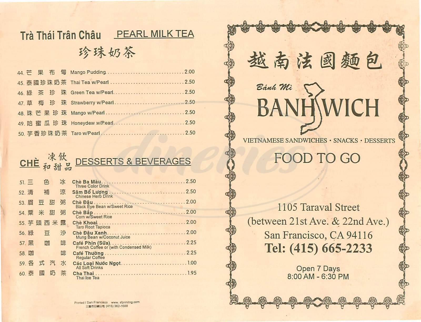 menu for Banhwich