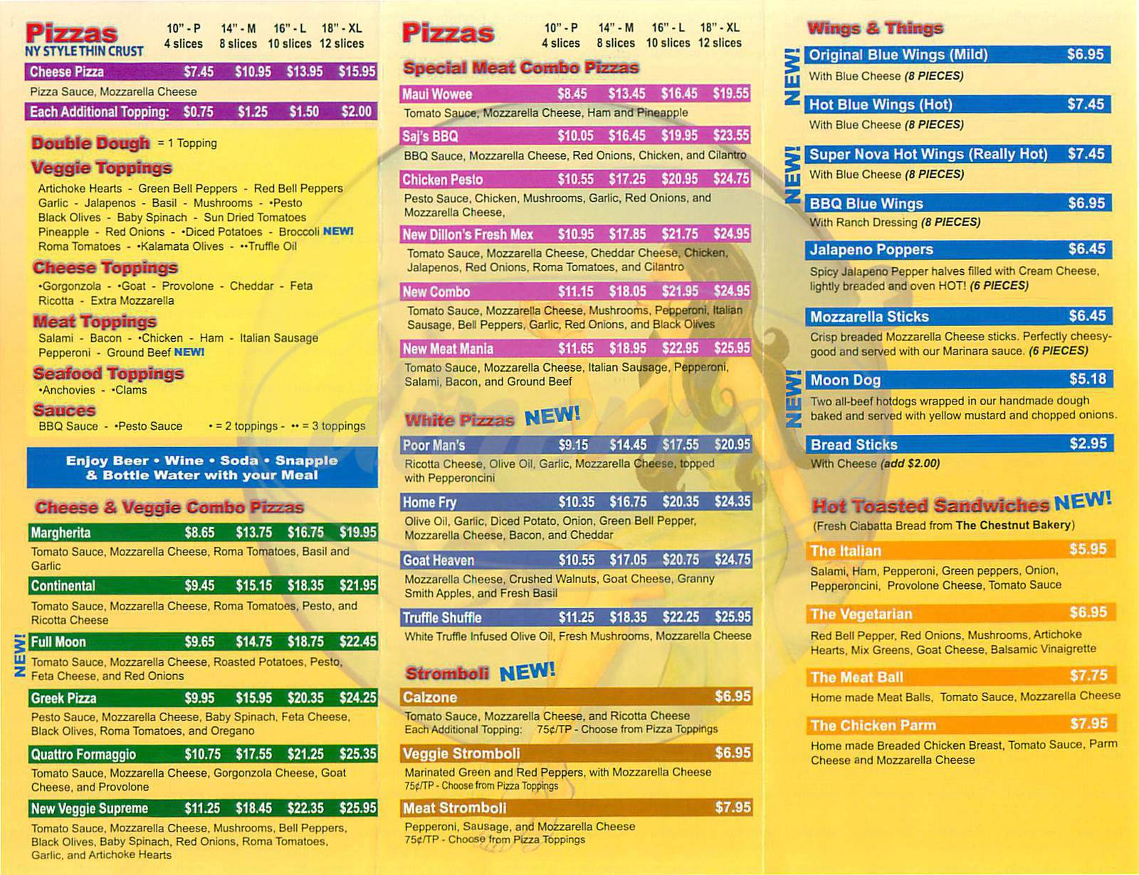 menu for Blue Moon Pizza