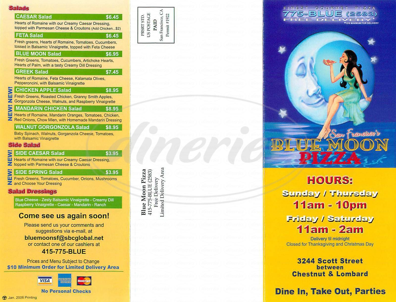 menu for Blue Moon Pizza