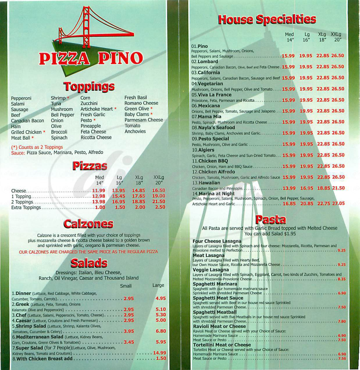 menu for Pizza Pino