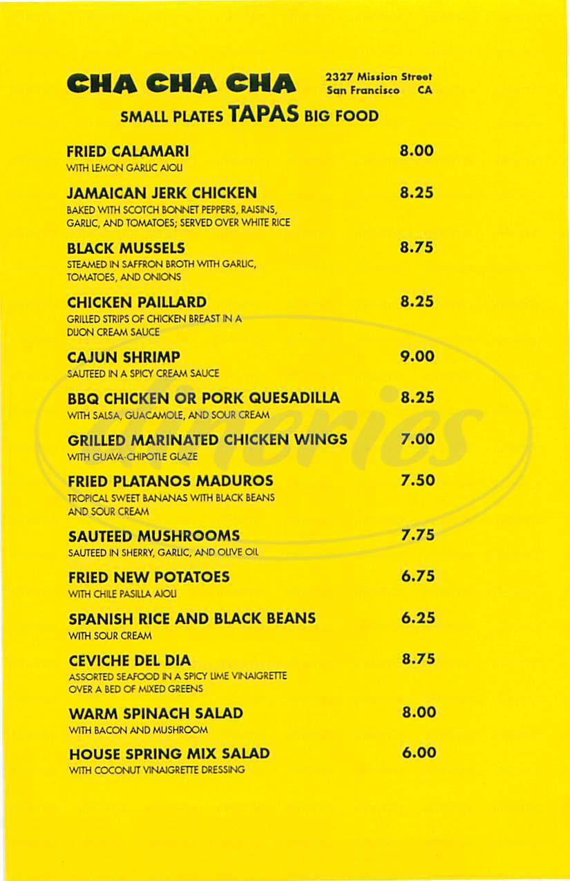 menu for Cha Cha Cha