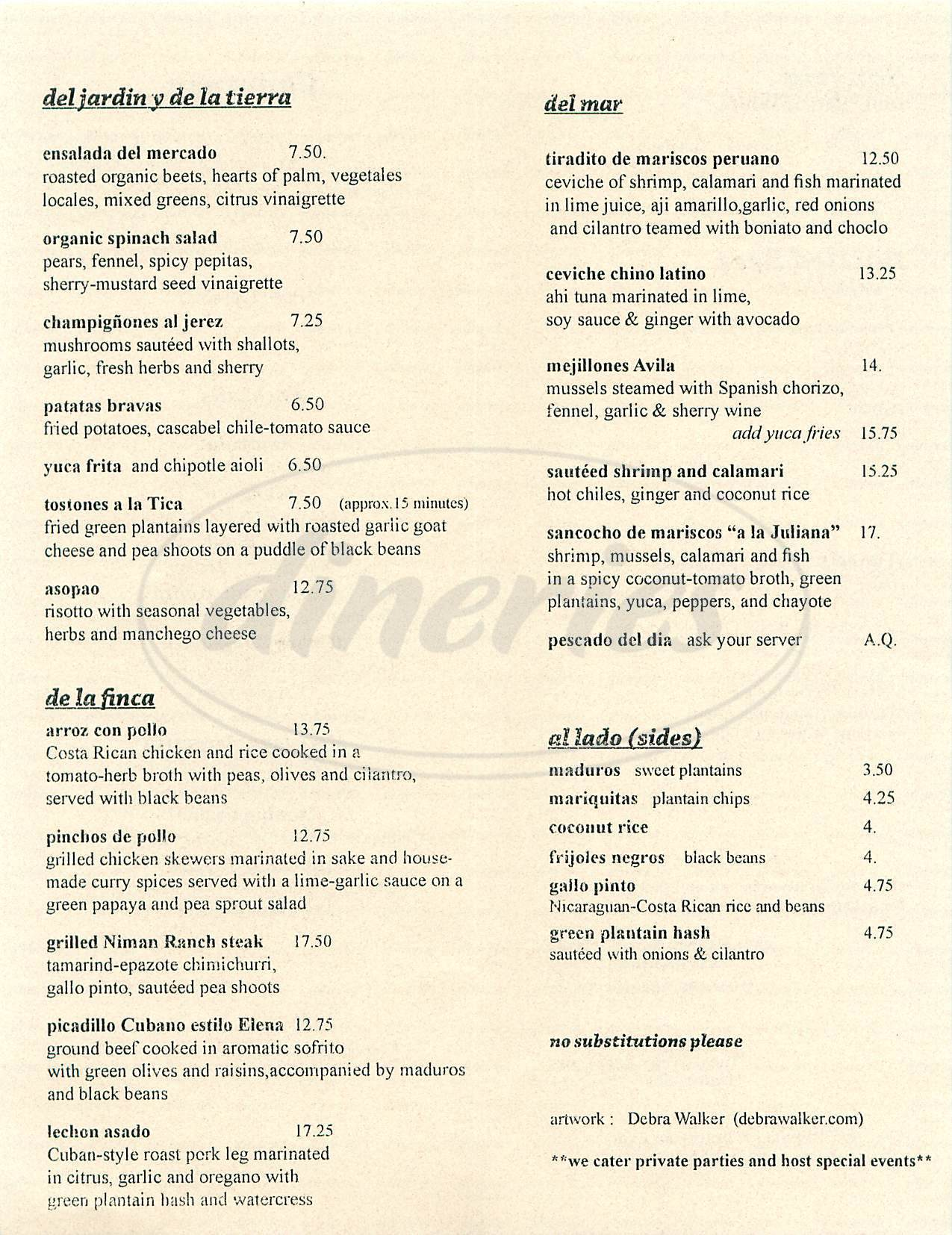 menu for Charanga