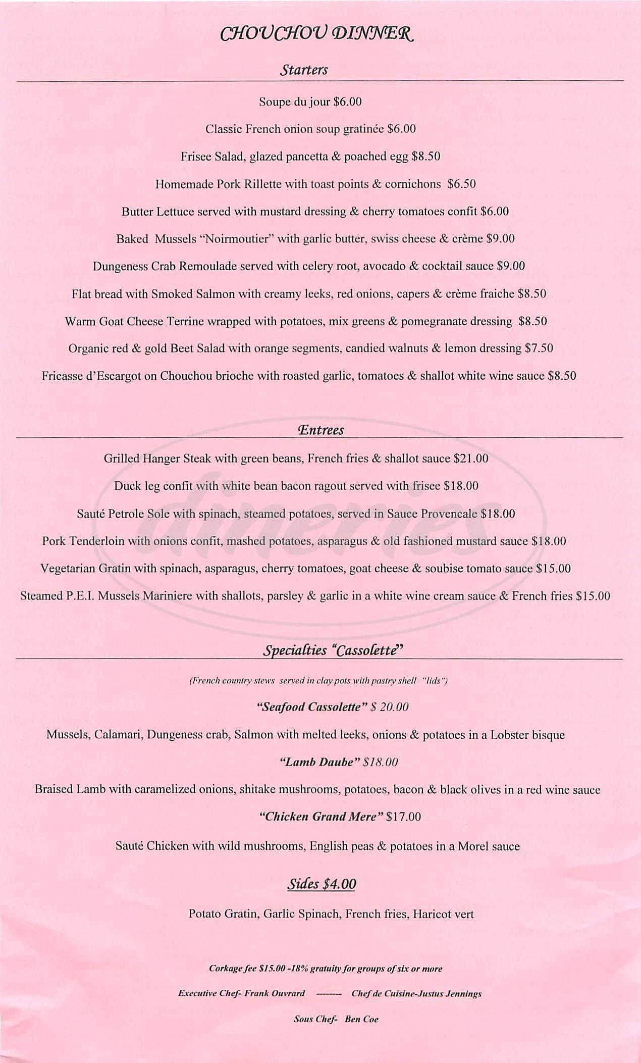 menu for Chouchou