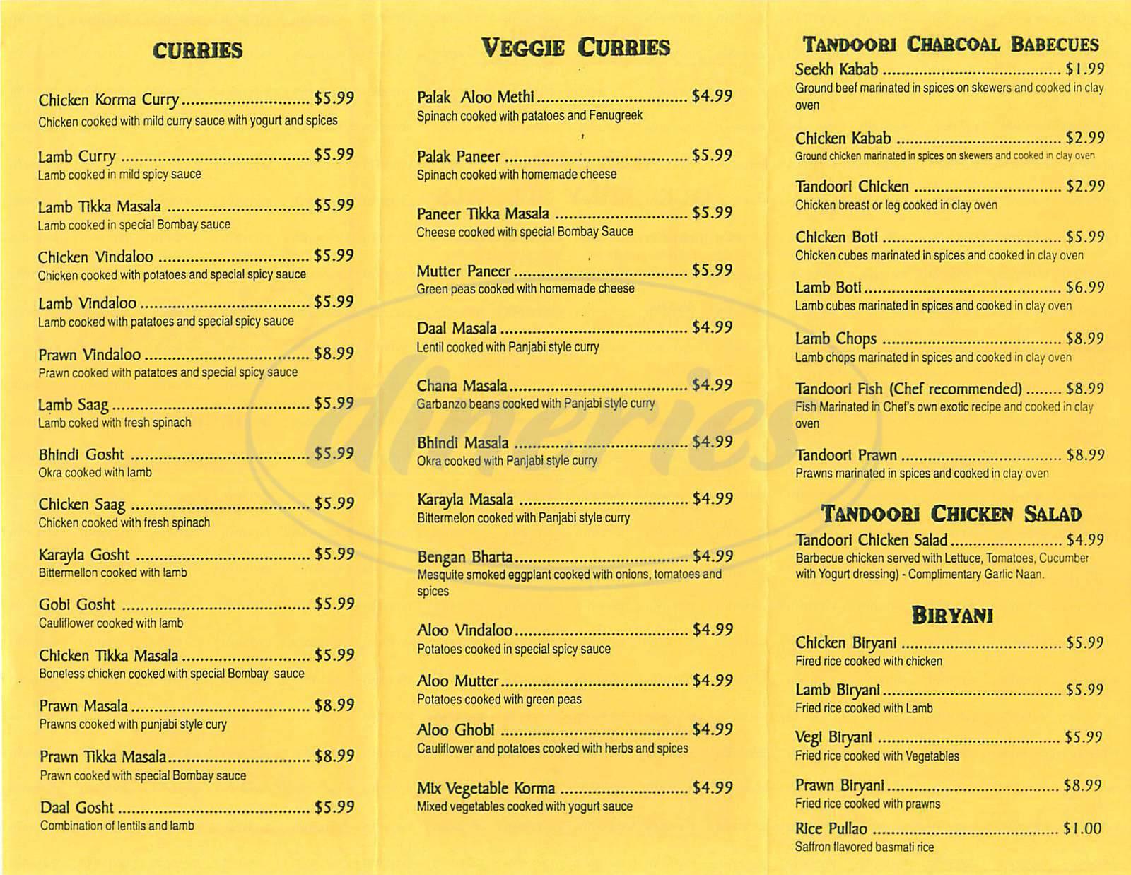menu for Chutney