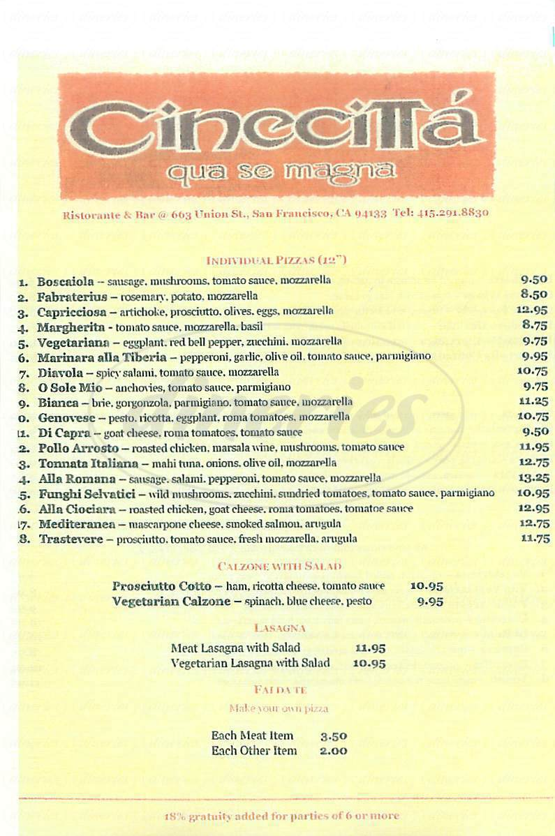 menu for Cinecitta