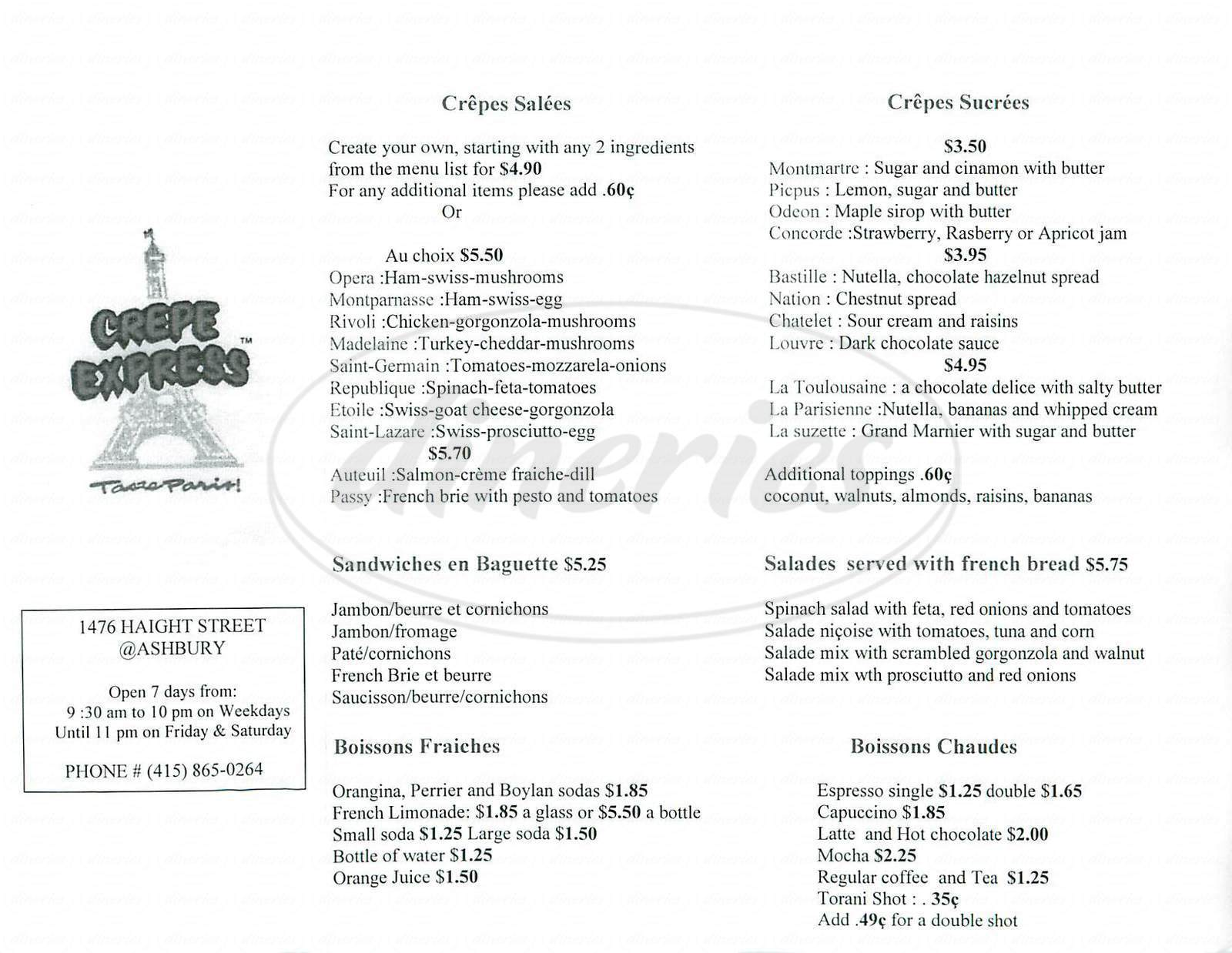 menu for Crepe Express