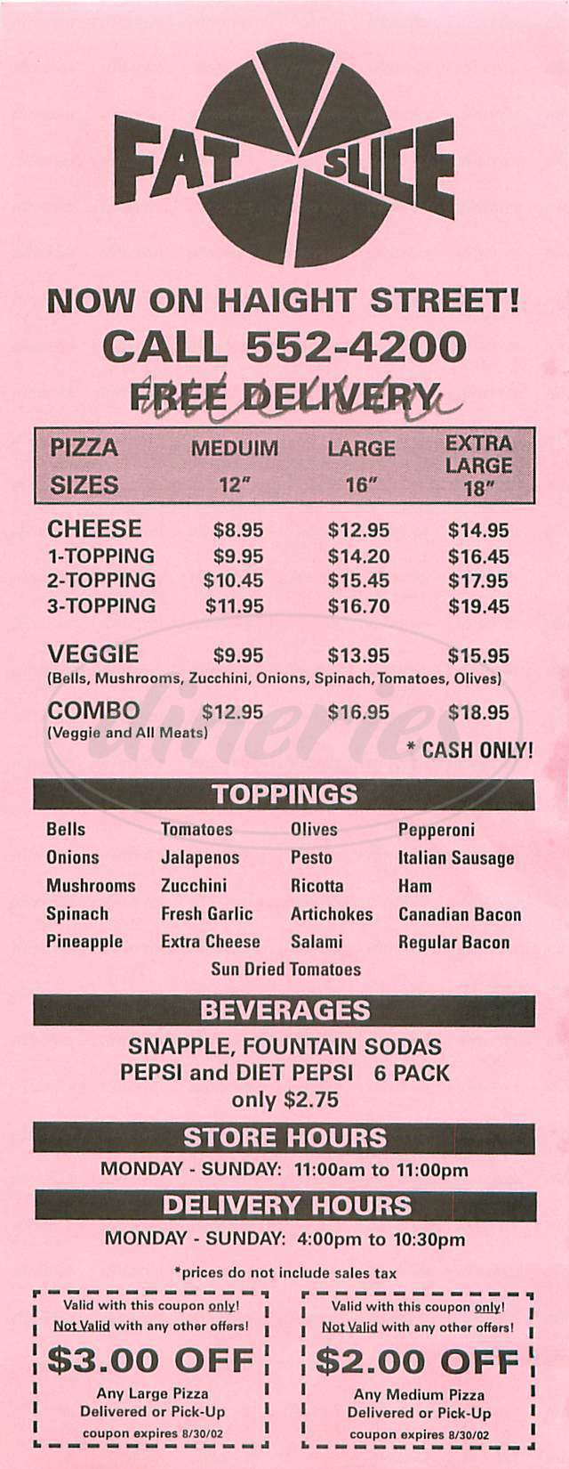 menu for Fat Slice