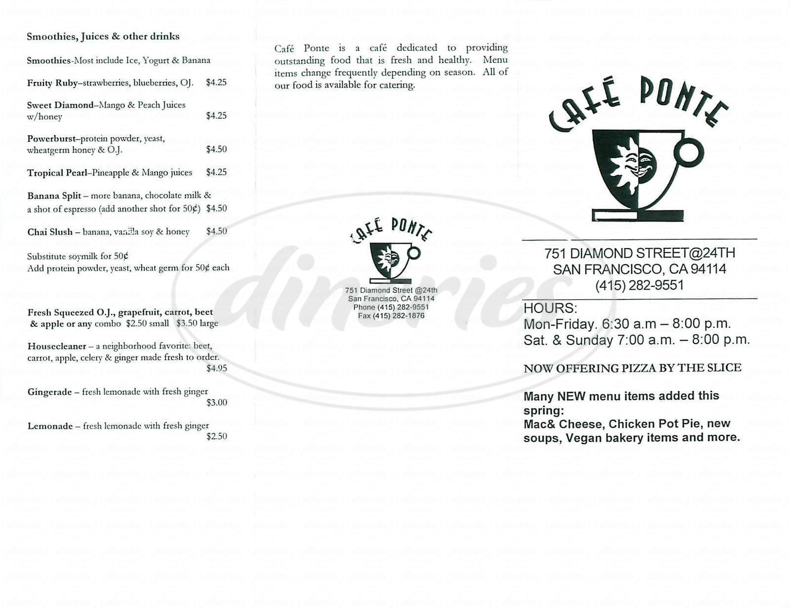 menu for Café Ponte