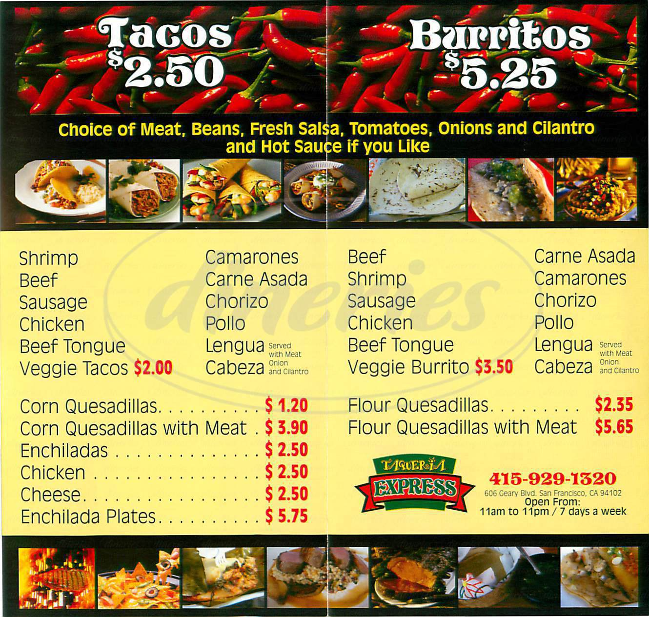 menu for Taqueria Express