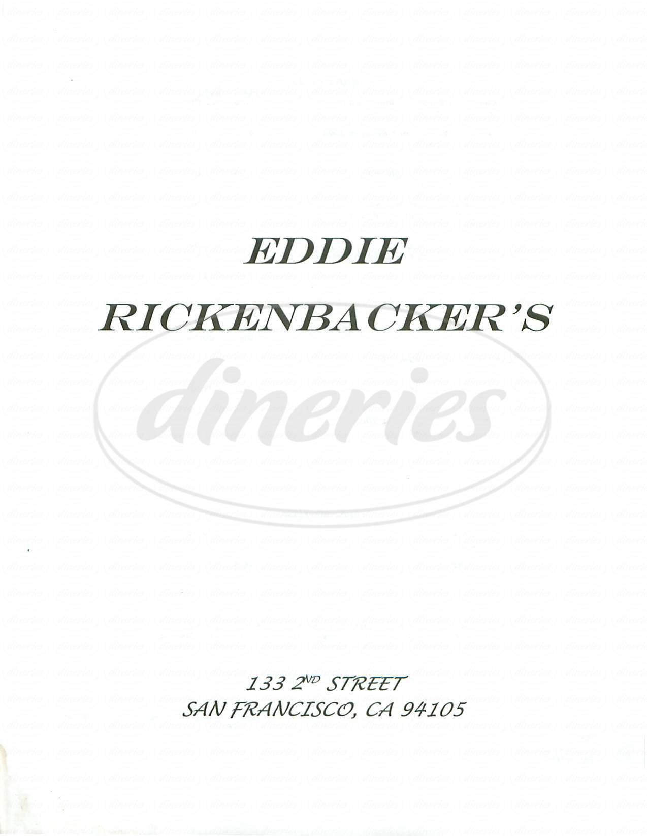 menu for Eddie Rickenbacker's