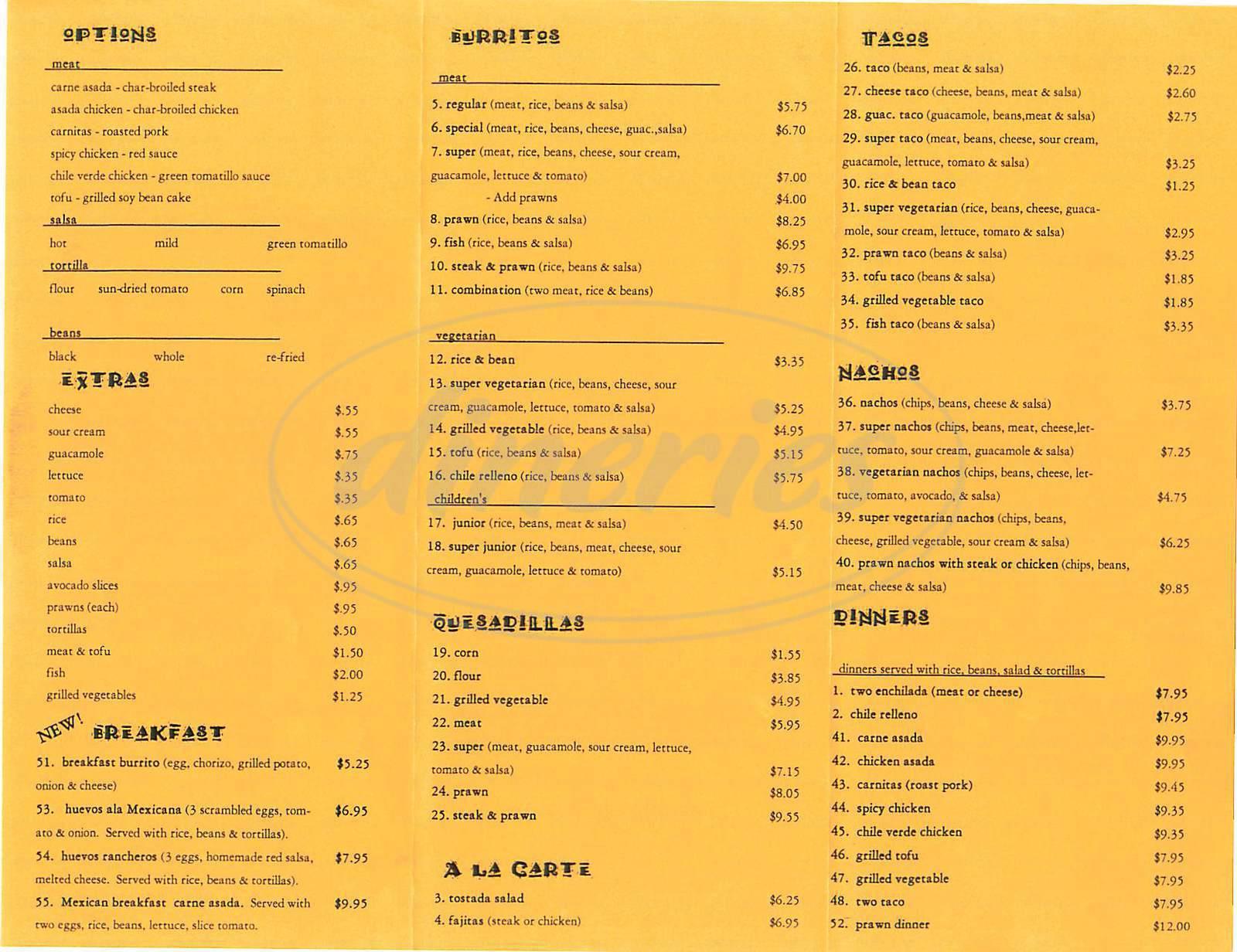 menu for El Beach Burrito