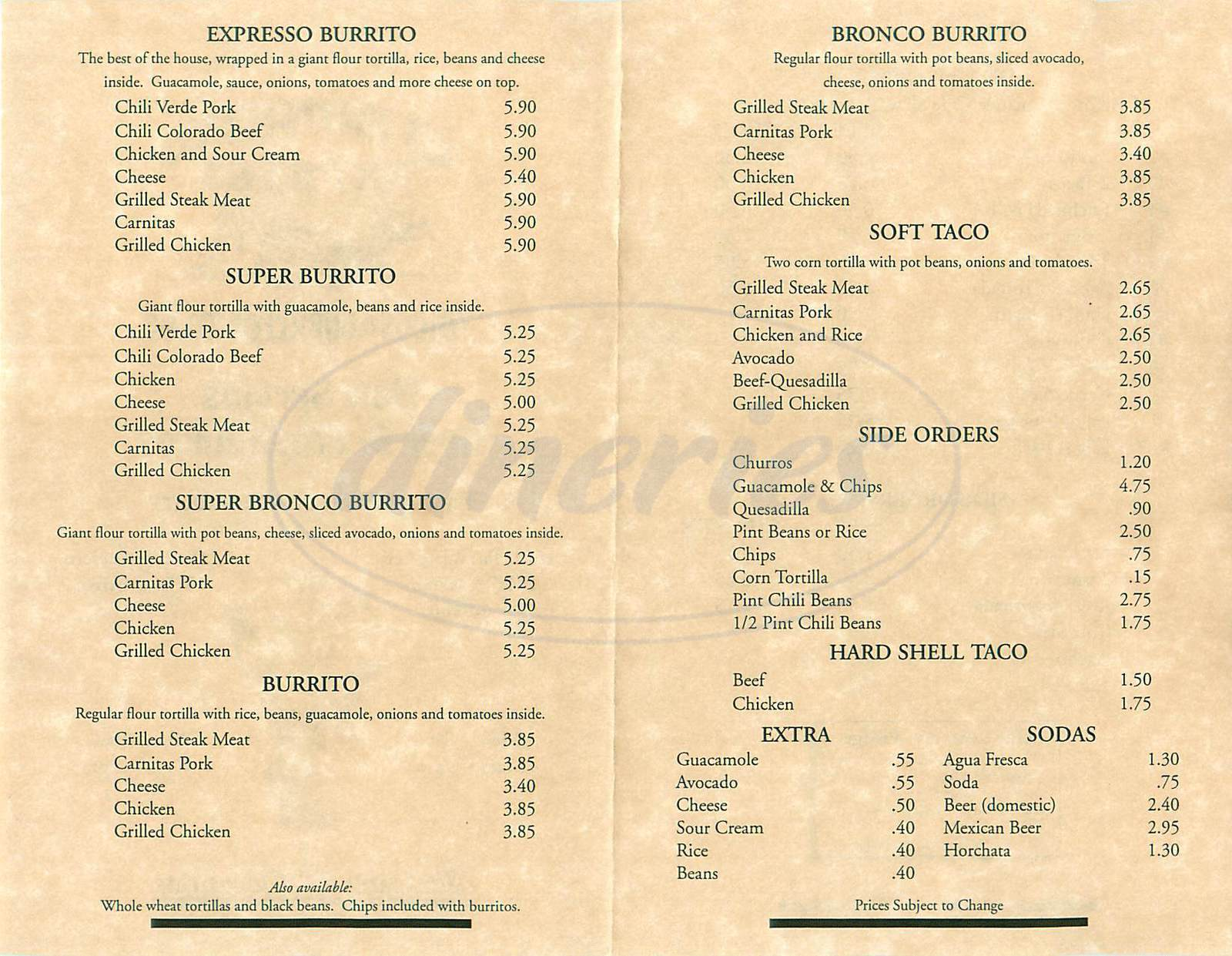 menu for El Burrito Express