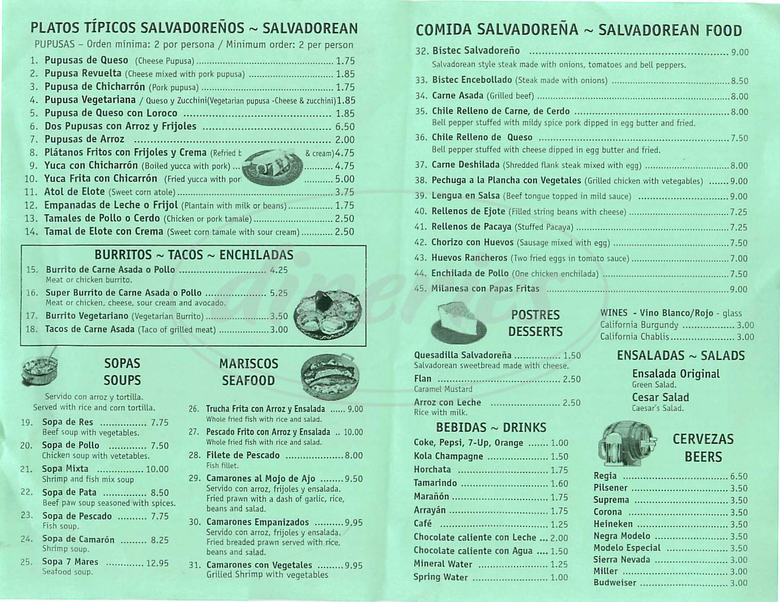 menu for El Majahual