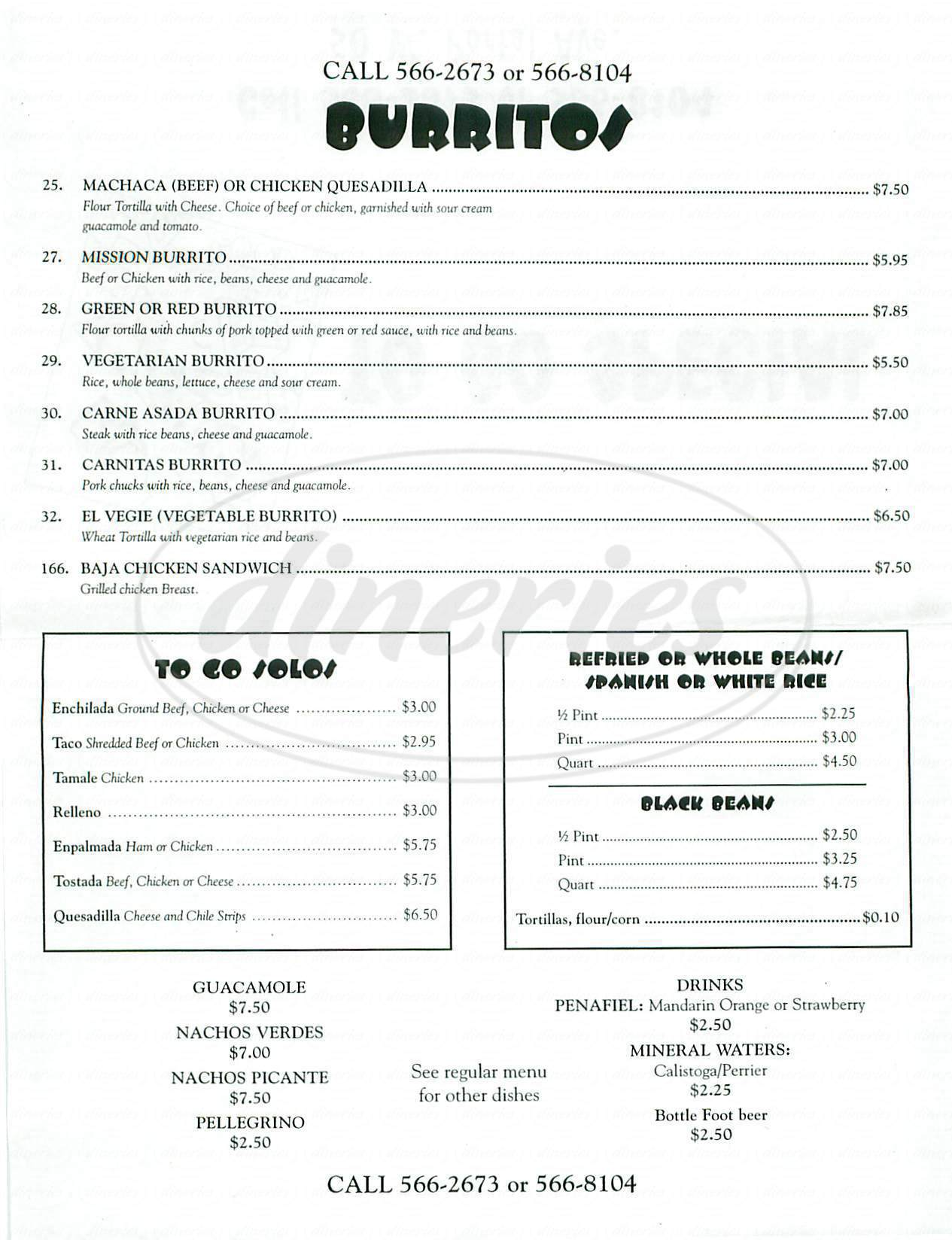 menu for El Toreador