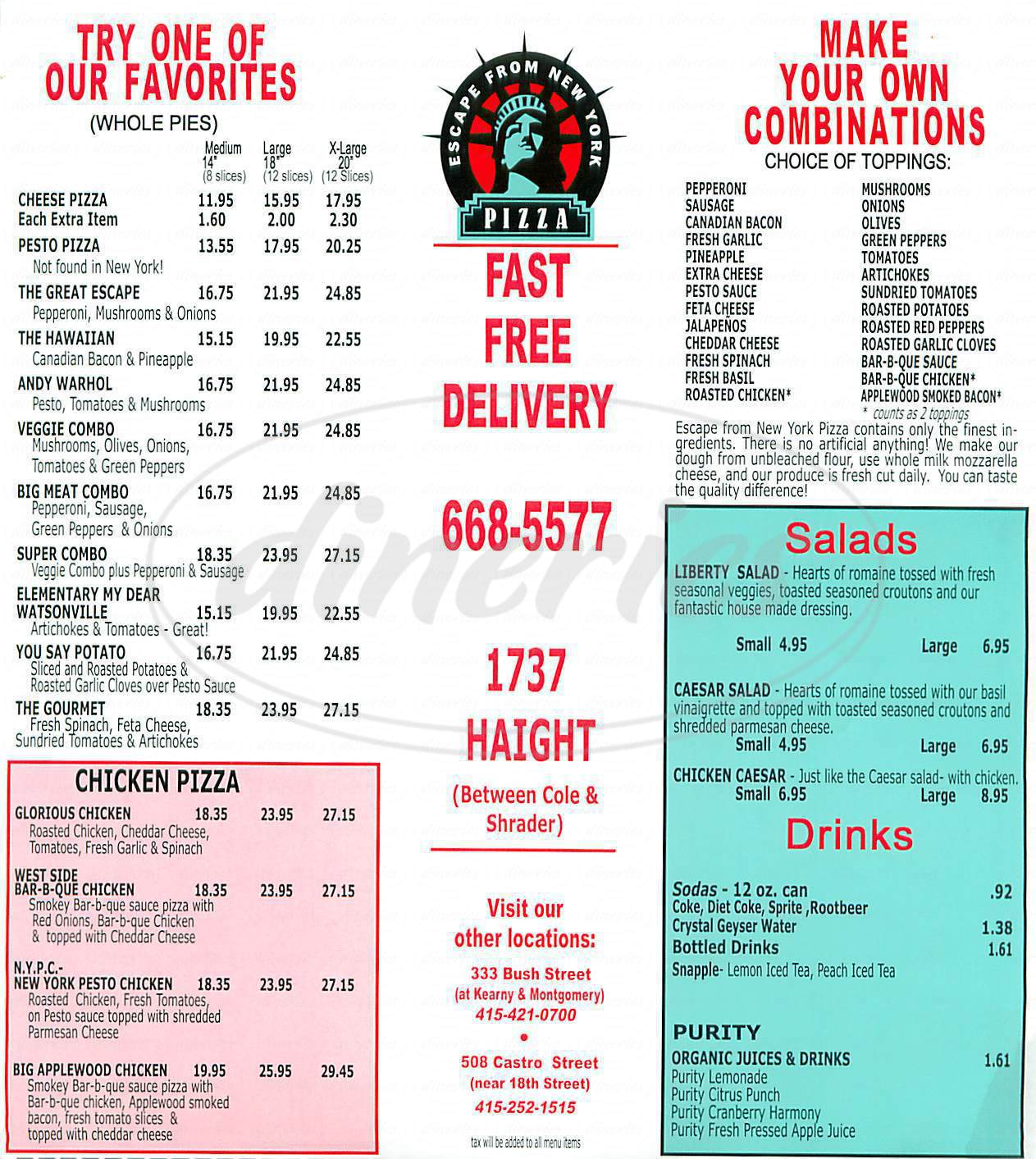 menu for Escape From New York Pizza