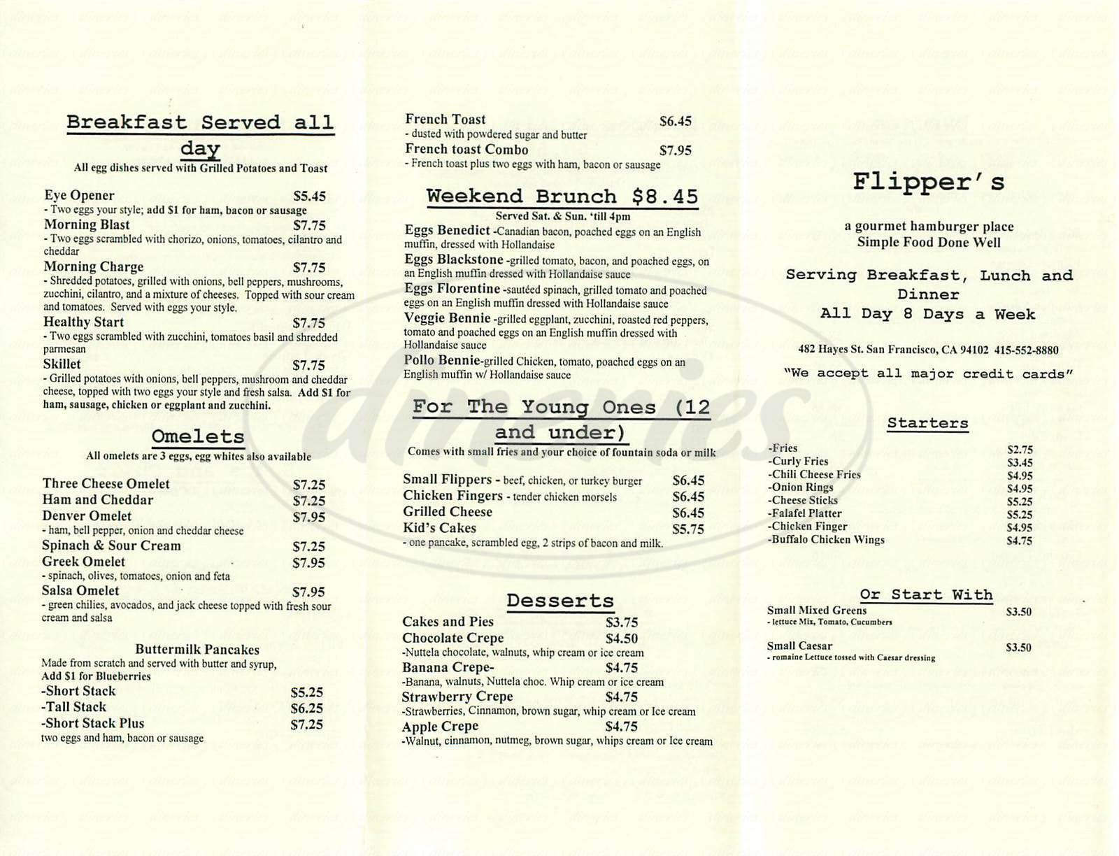 menu for Flipper's Gourmet Hamburgers