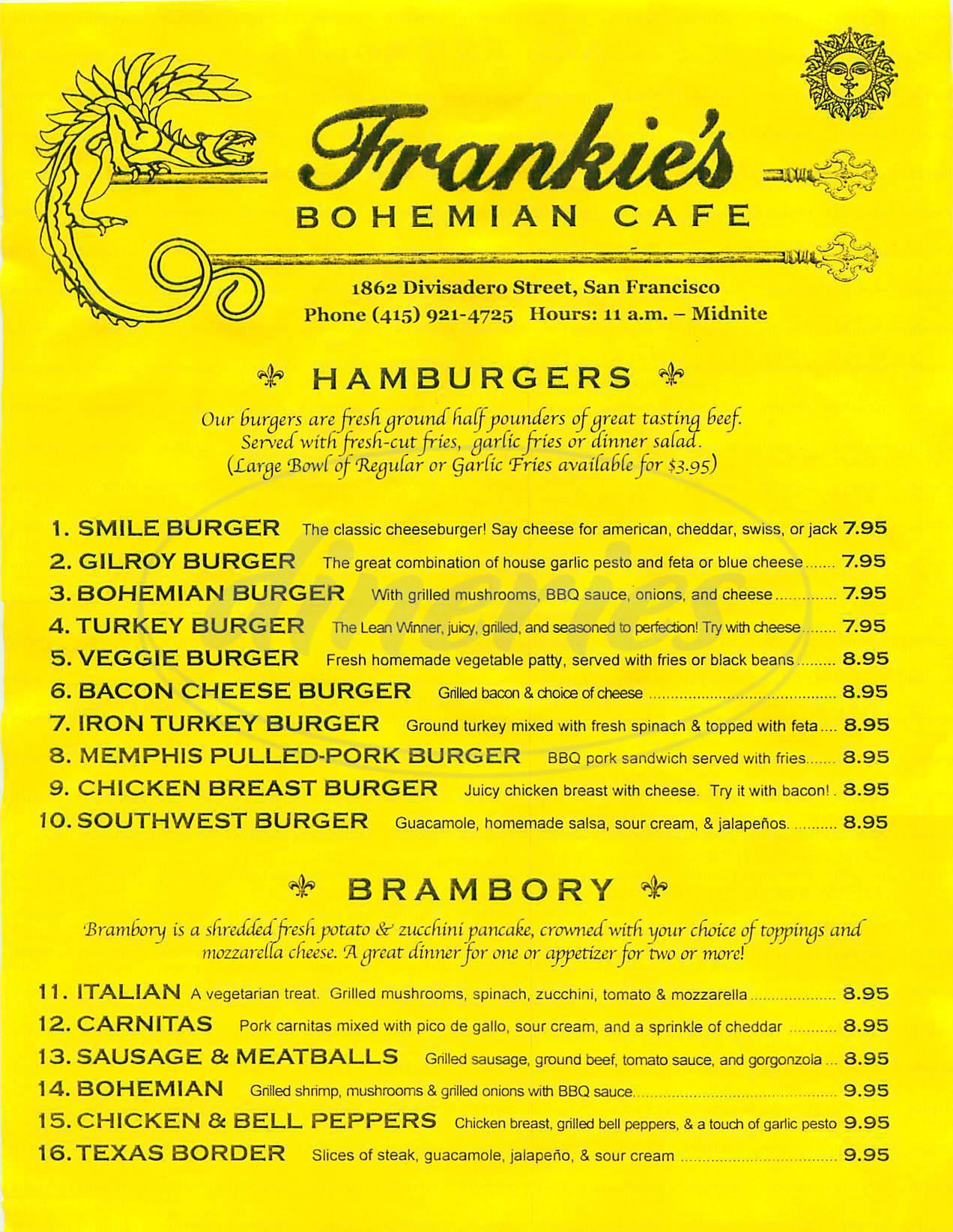 menu for Frankie's Bohemian Café