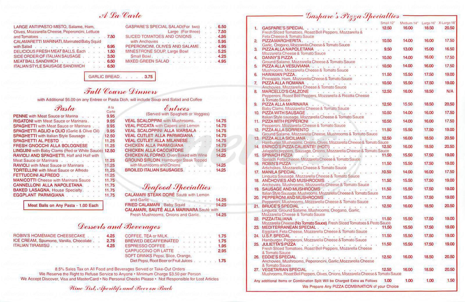 menu for Gaspare's
