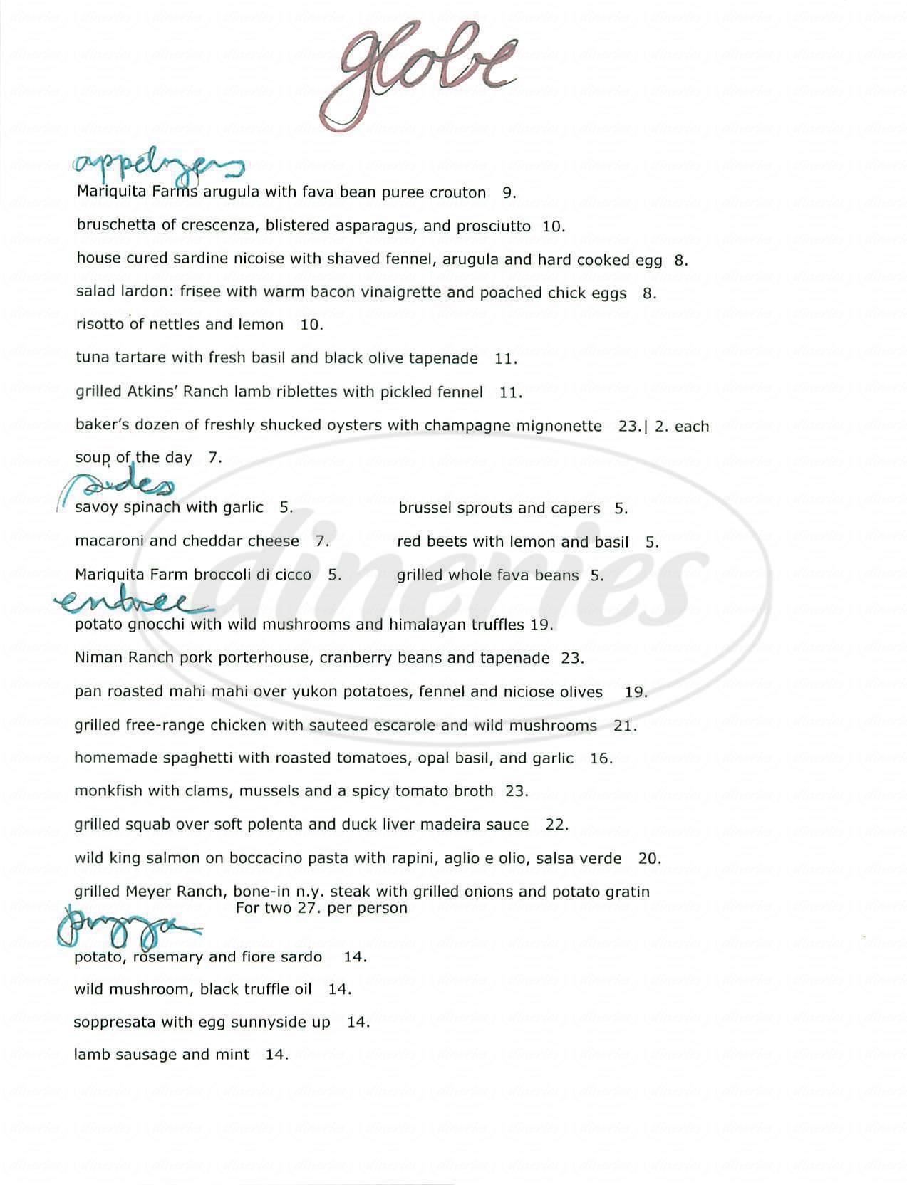menu for Globe