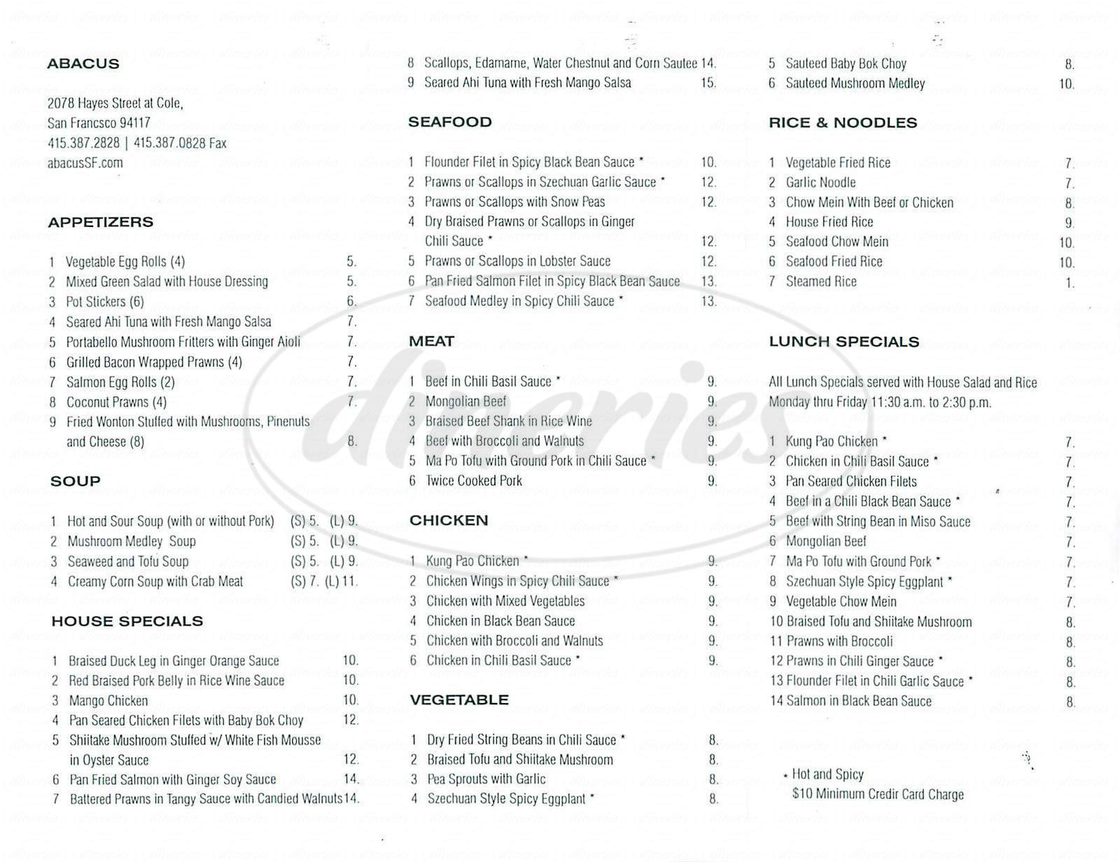 menu for Abacus