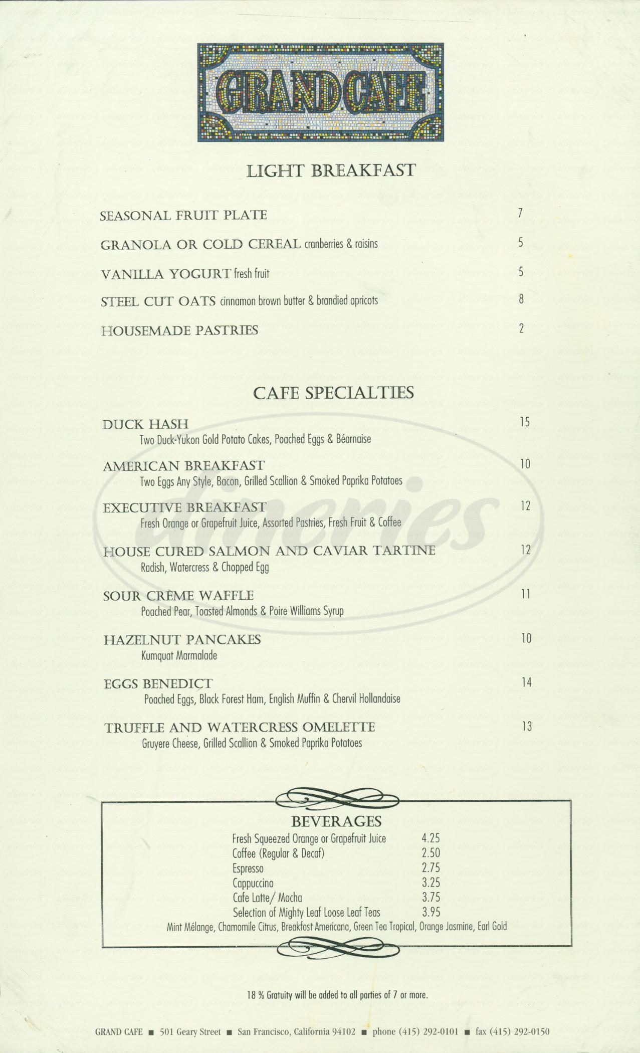 menu for Grand Café