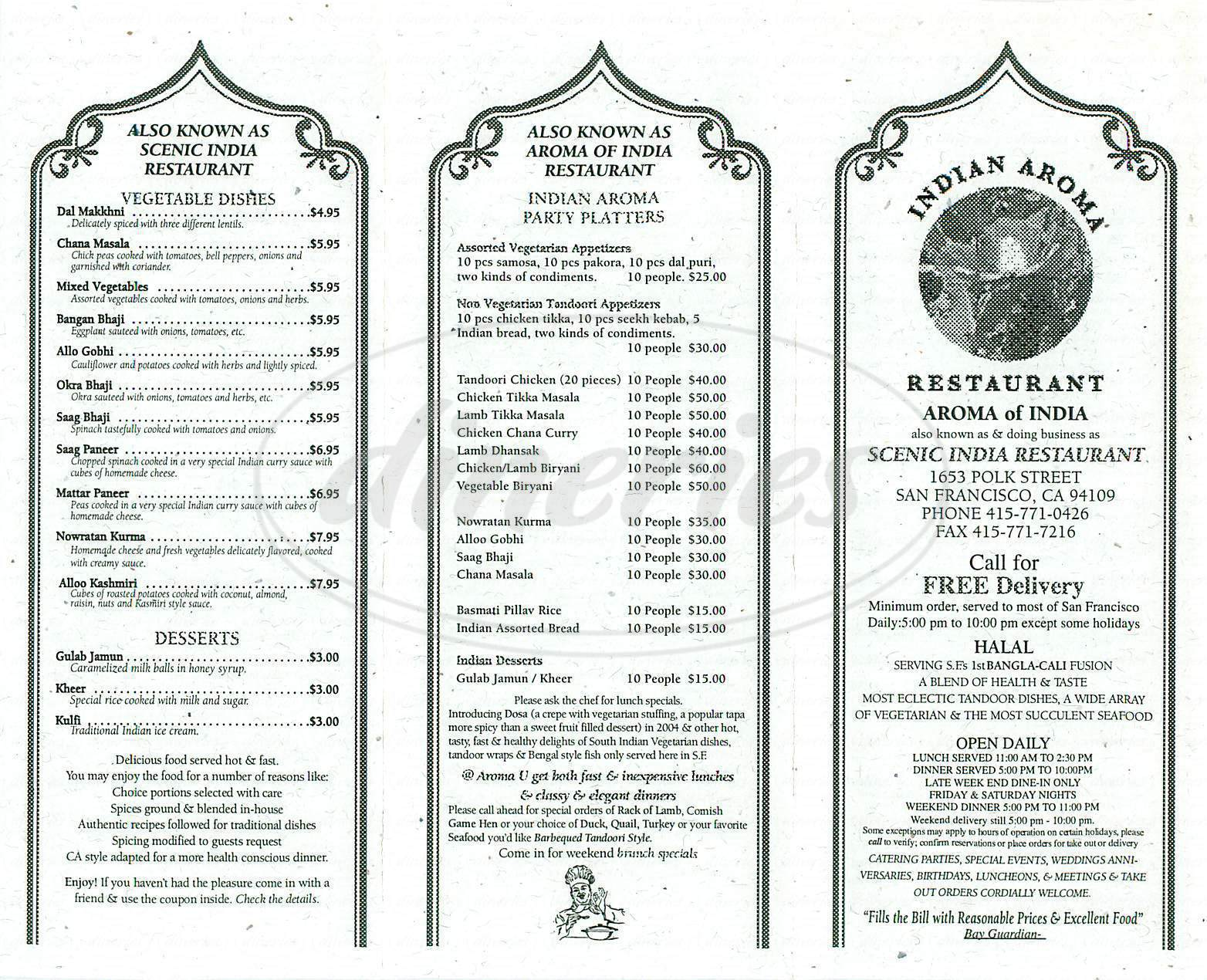 menu for Indian Aroma