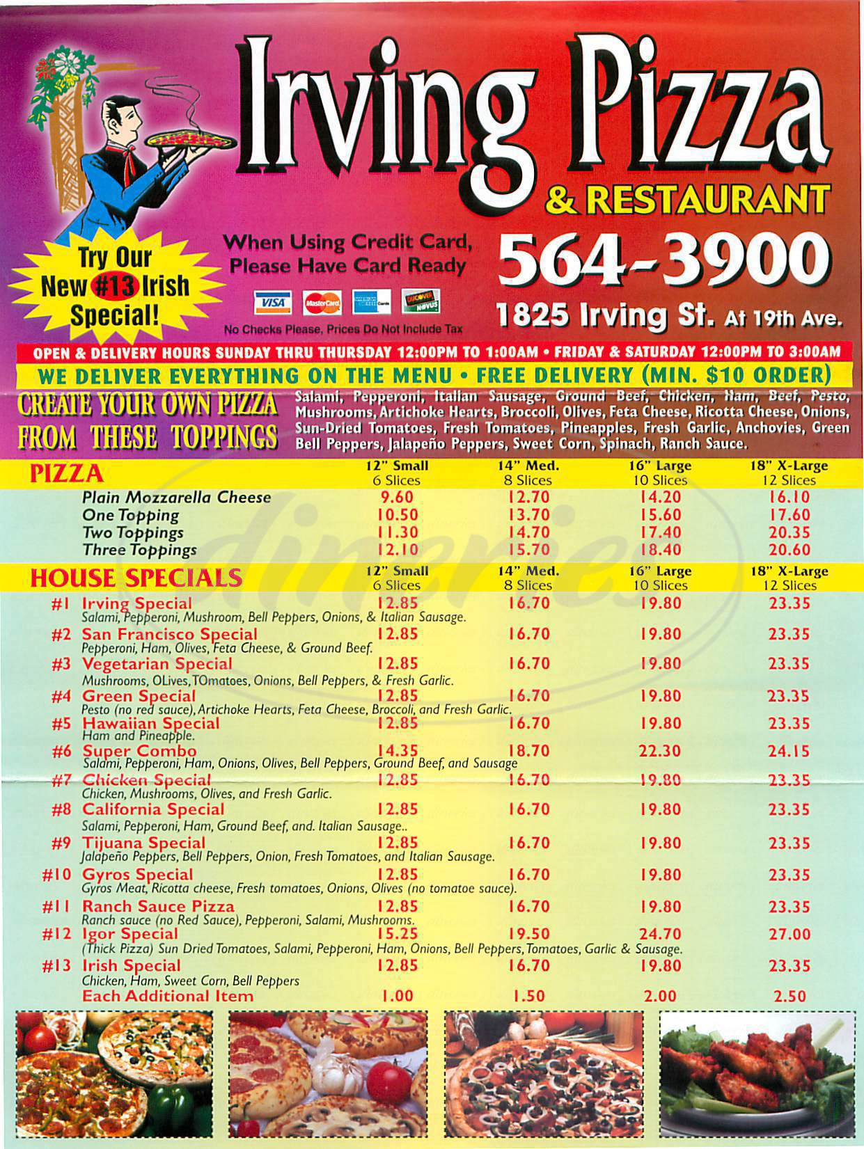 menu for Irving Pizza