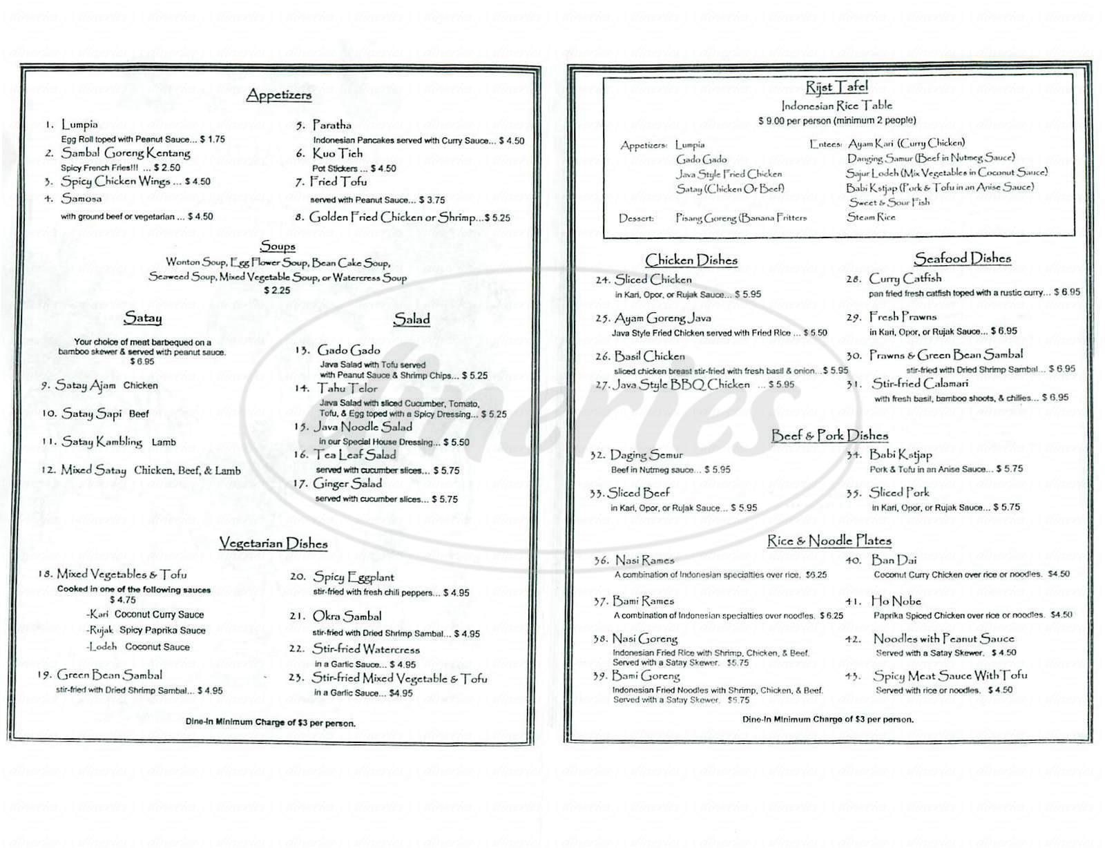 menu for Java
