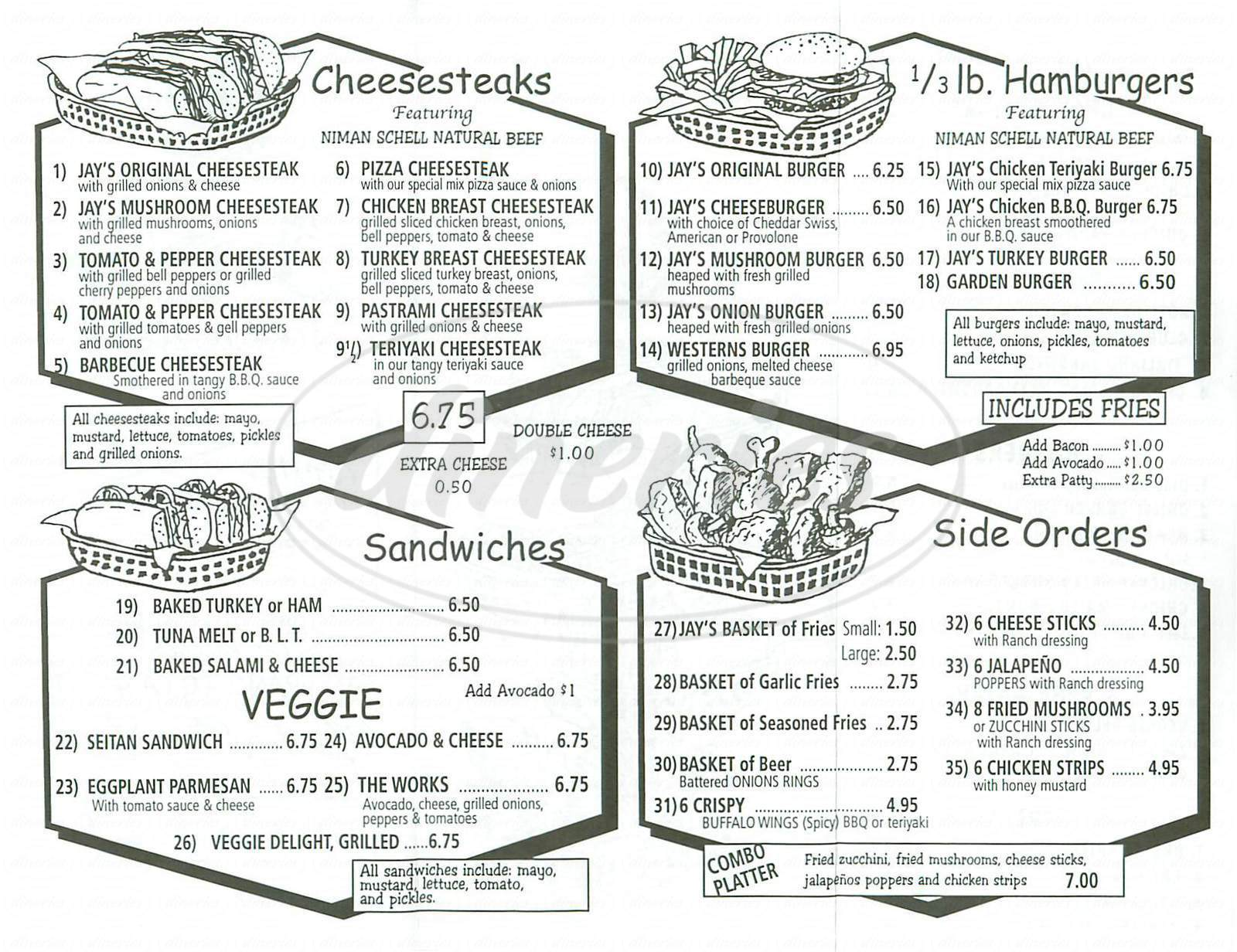 menu for Jay's Cheesesteak