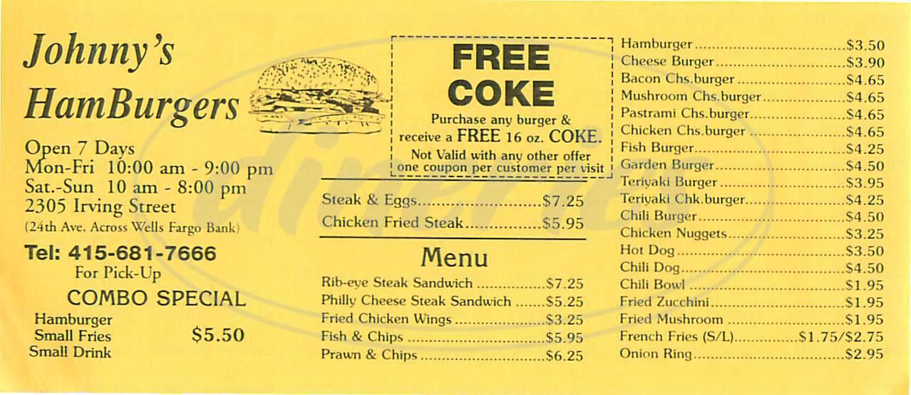 menu for Johnny's HamBurgers