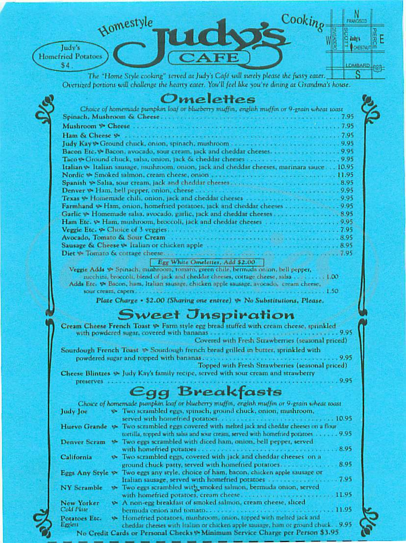 menu for Judy's Cafe