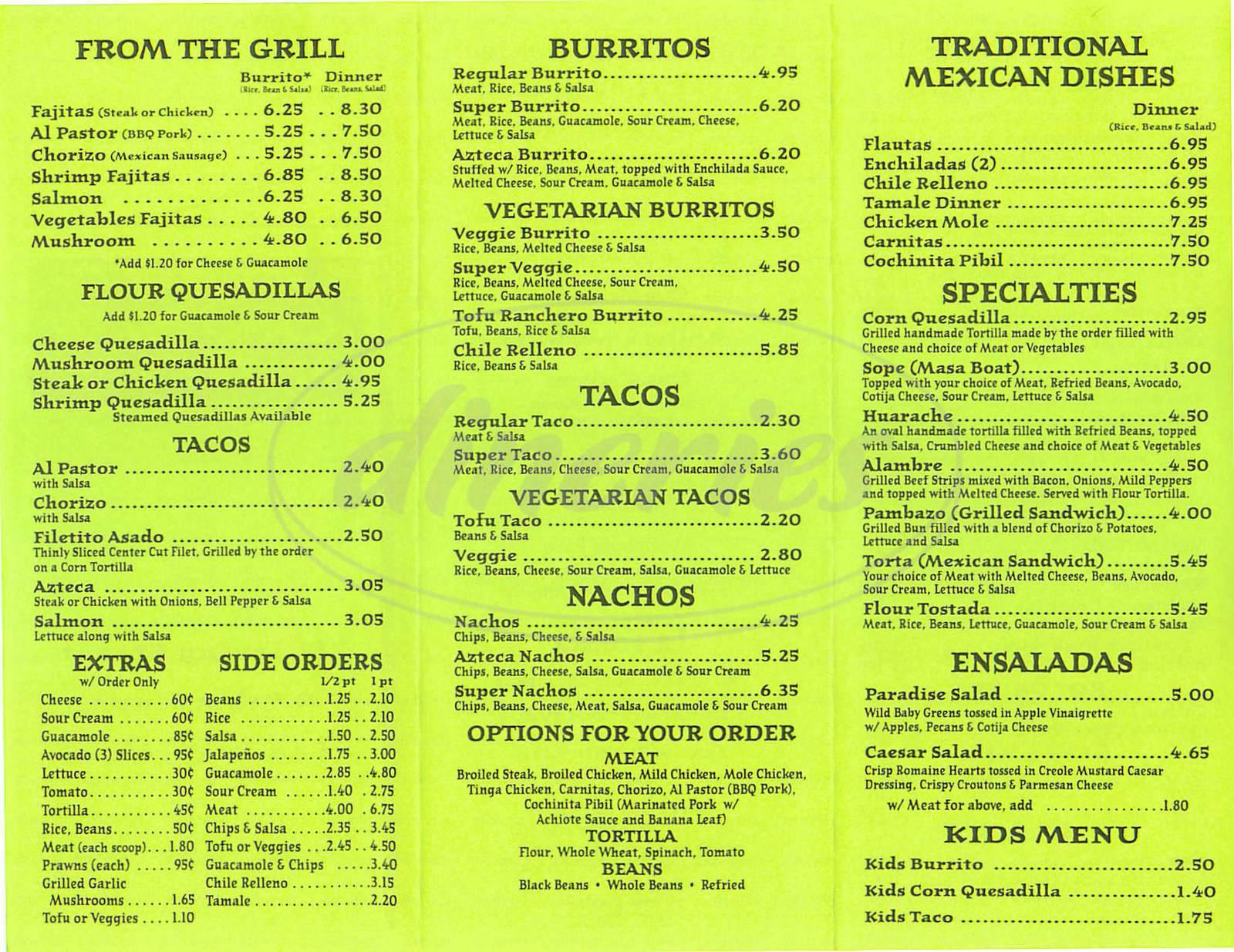 menu for La Fonda