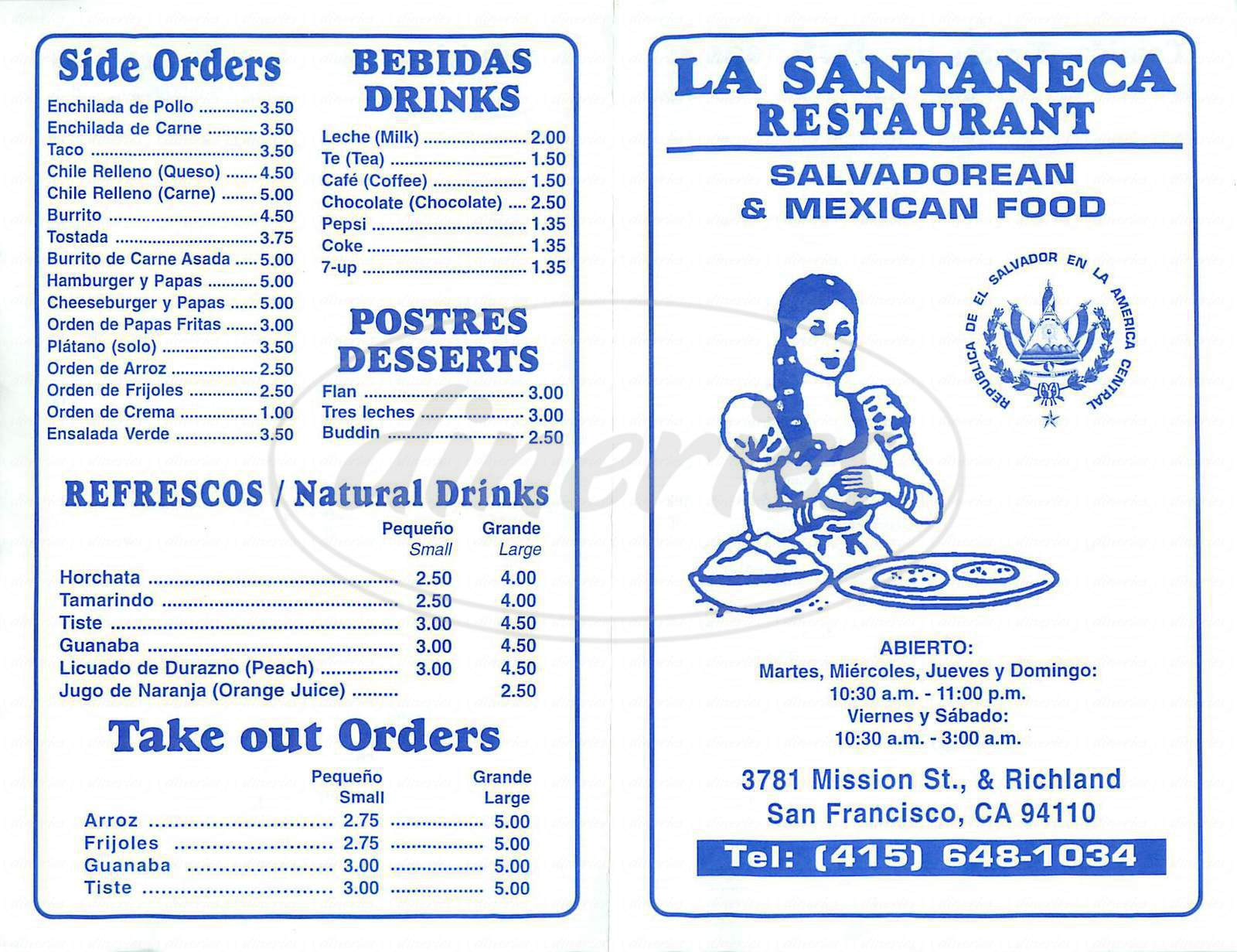 menu for La Santaneca
