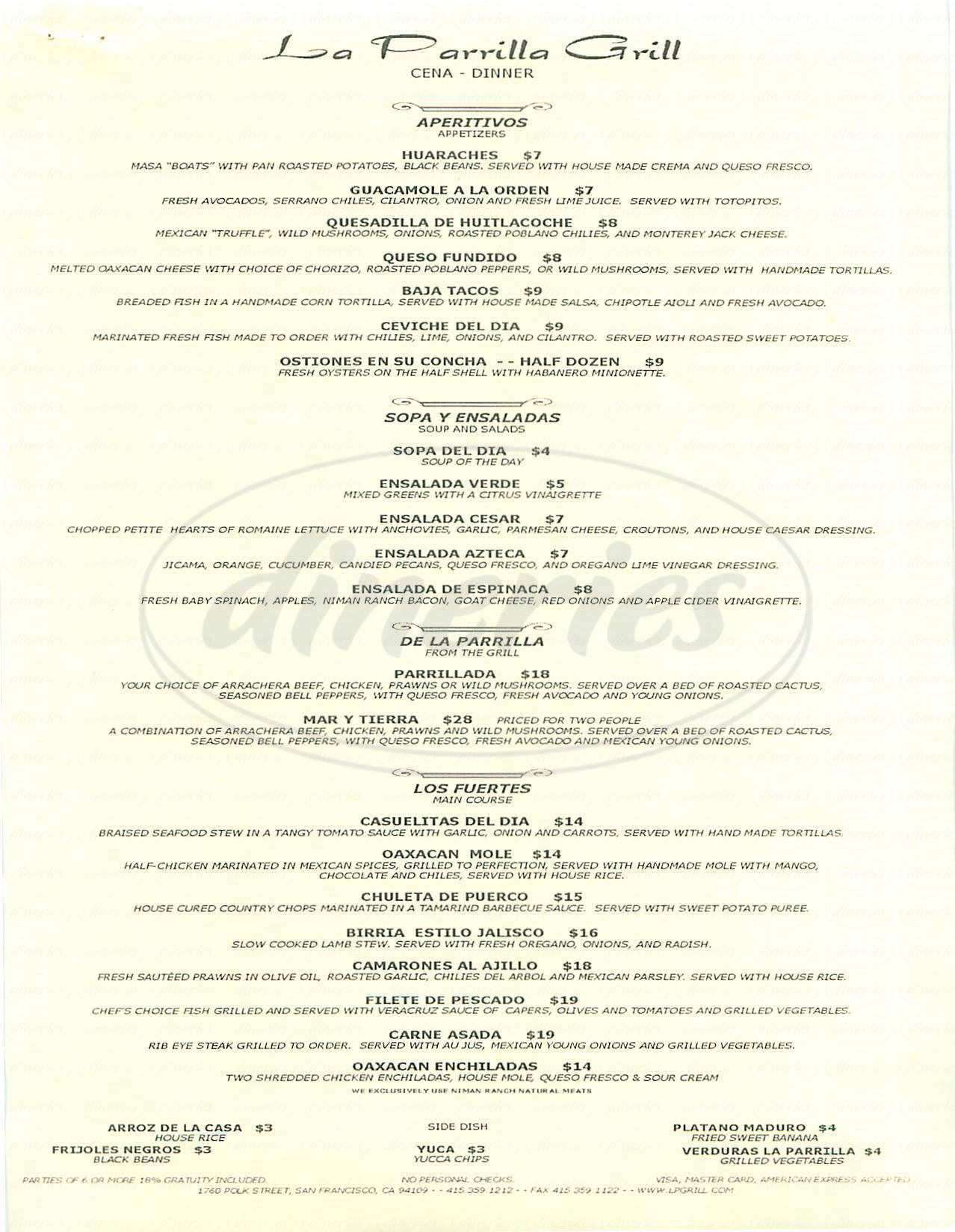 menu for La Parrilla Grill