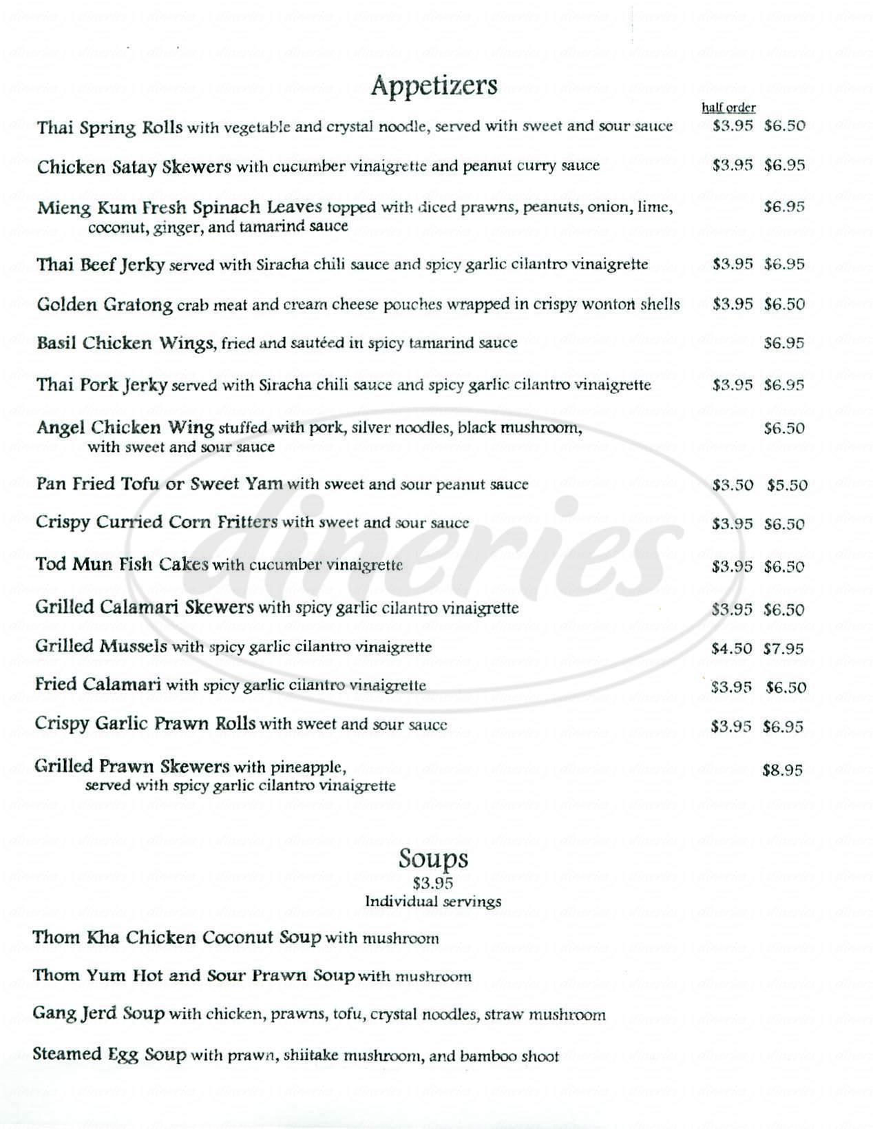 menu for Lalita