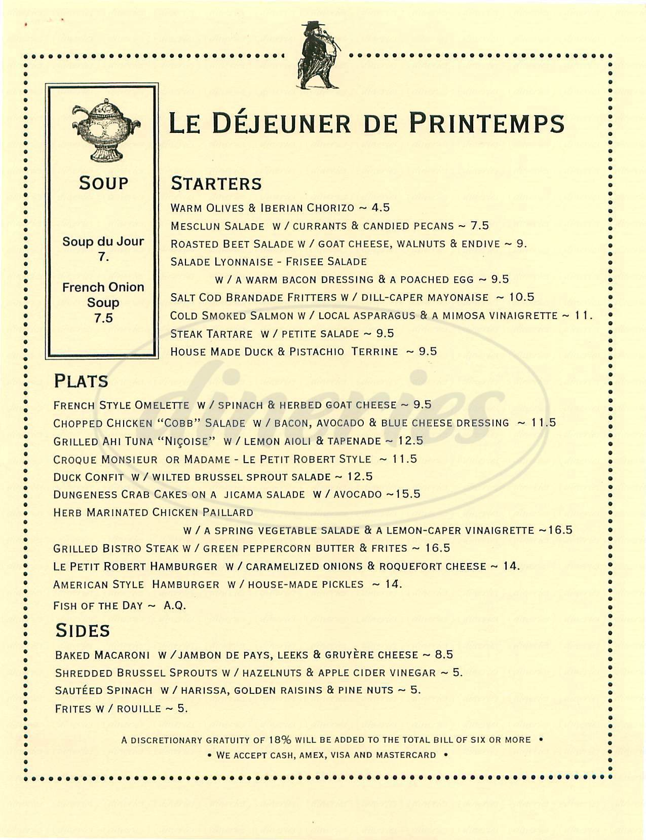 menu for Le Petit Robert